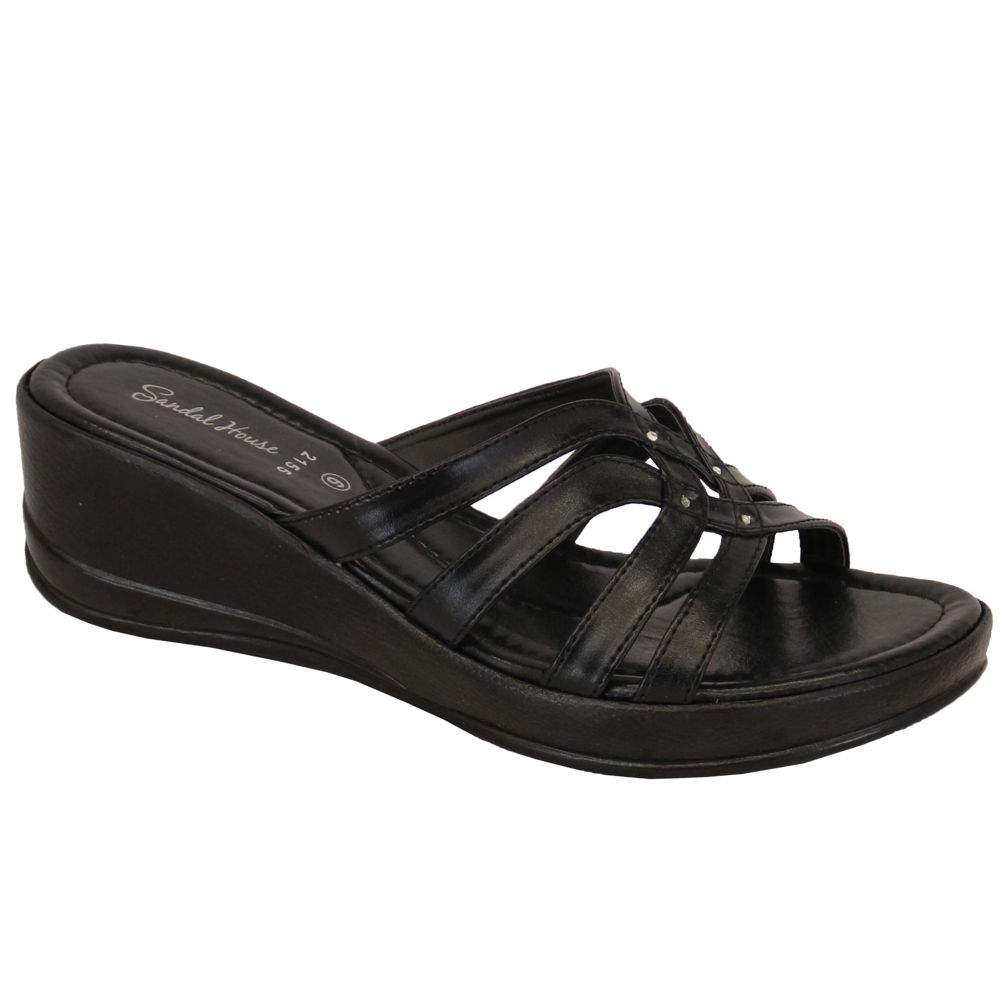 Ladies Womens Slip On Open Toe Wedge Heel Slippers Shoes