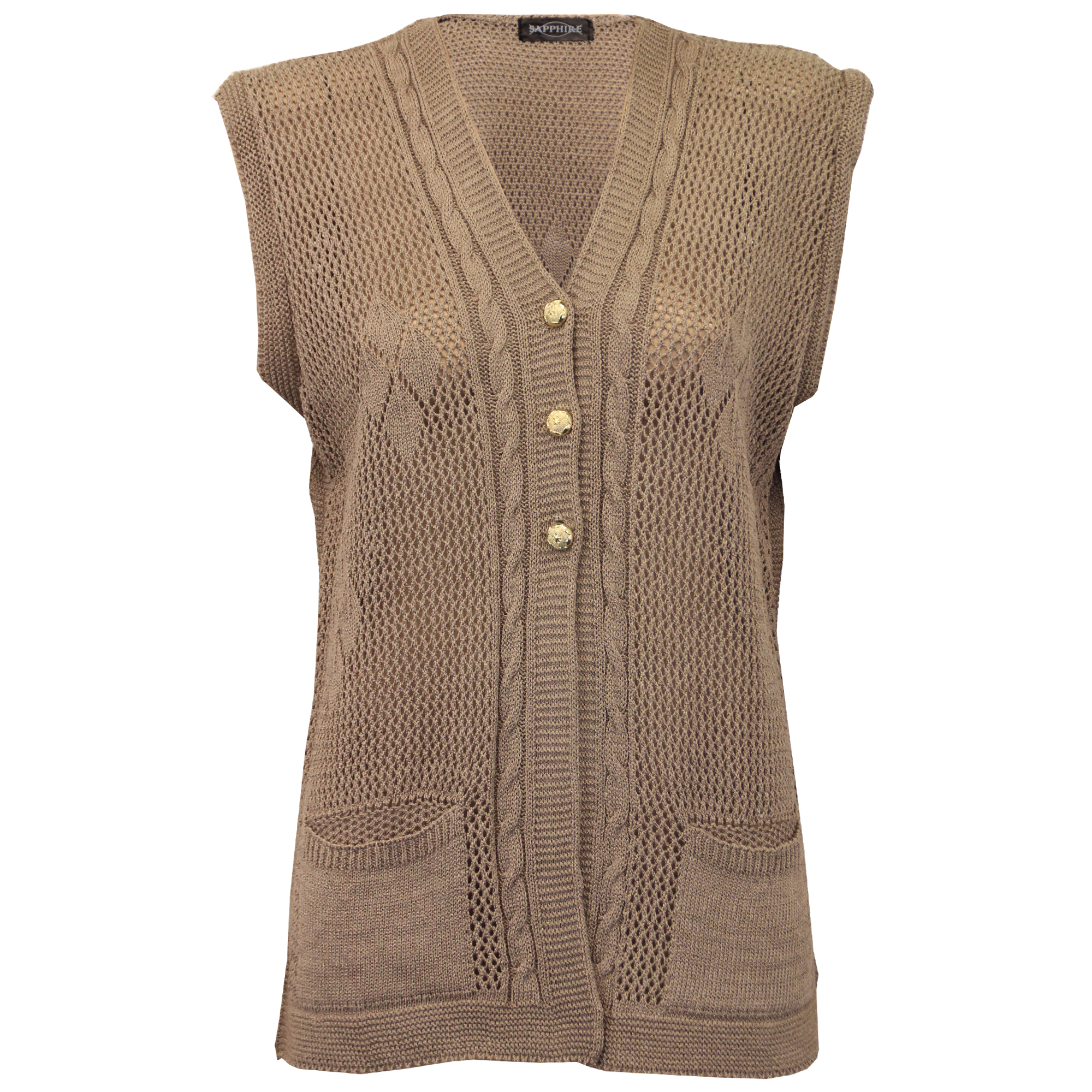 Ladies Cardigans Womens Gilet Knitted Crochet Waistcoat Sleeveless Casual Win...