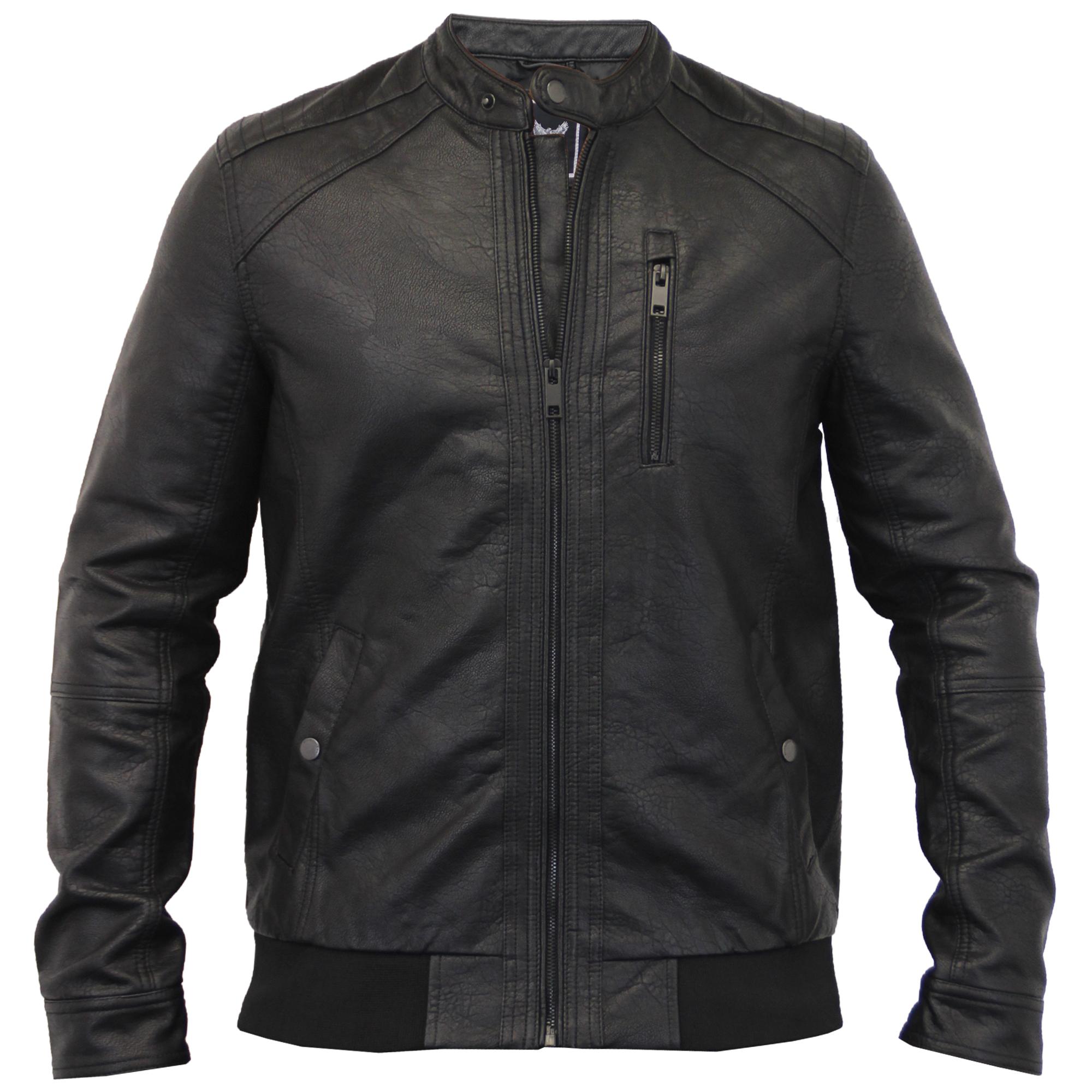 mens leather look jacket brave soul biker pu pvc lined. Black Bedroom Furniture Sets. Home Design Ideas