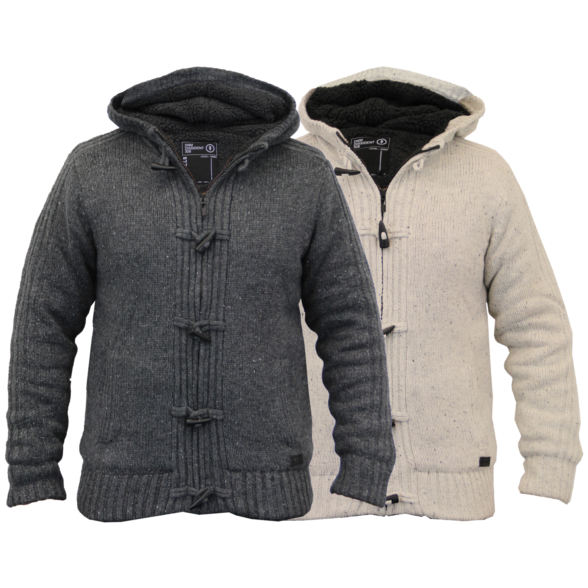 Mens Knitted Sherpa Fleece Jacket Hooded Toggle Winter Cardigan By ...
