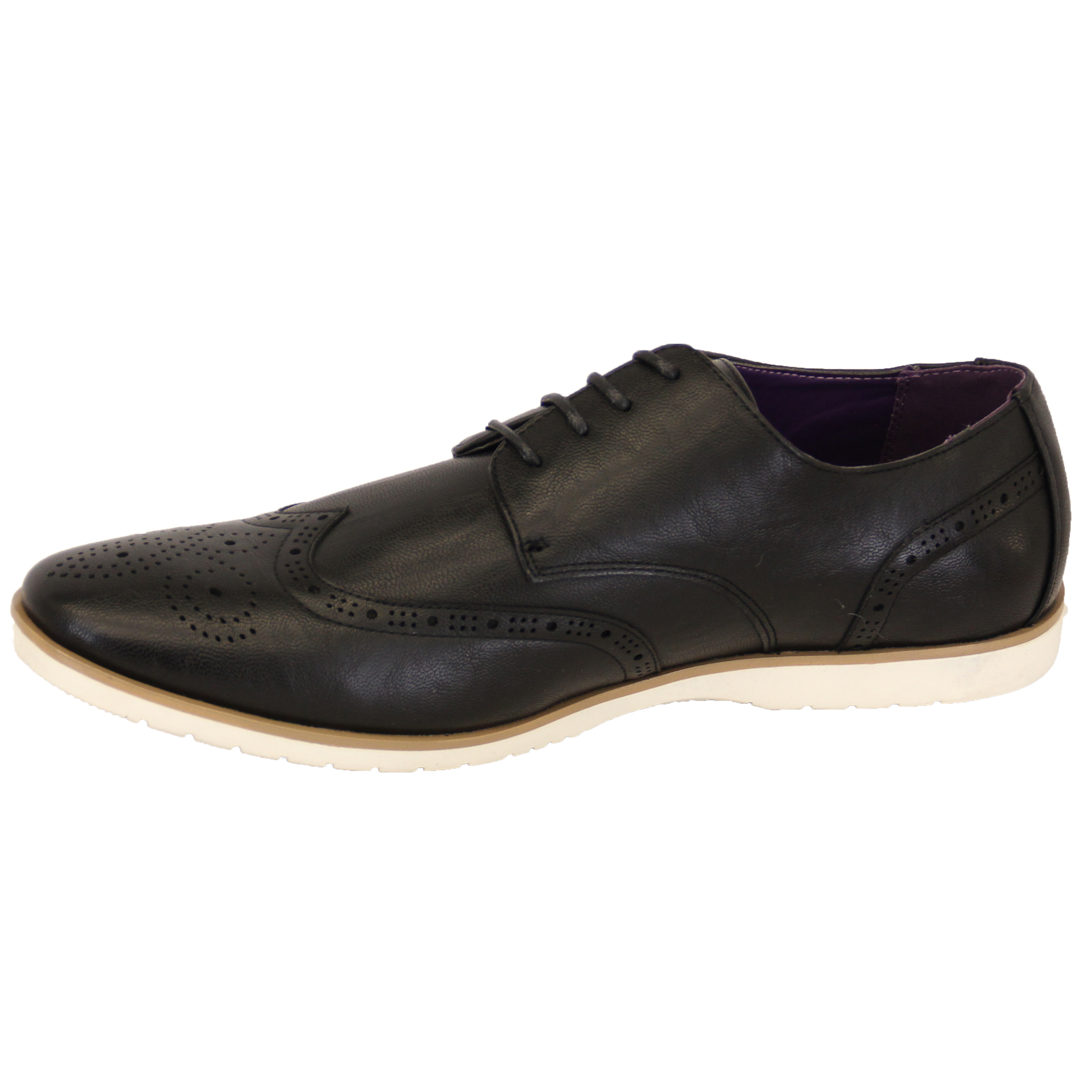 mens leather look brogue lace up pointed formal italian
