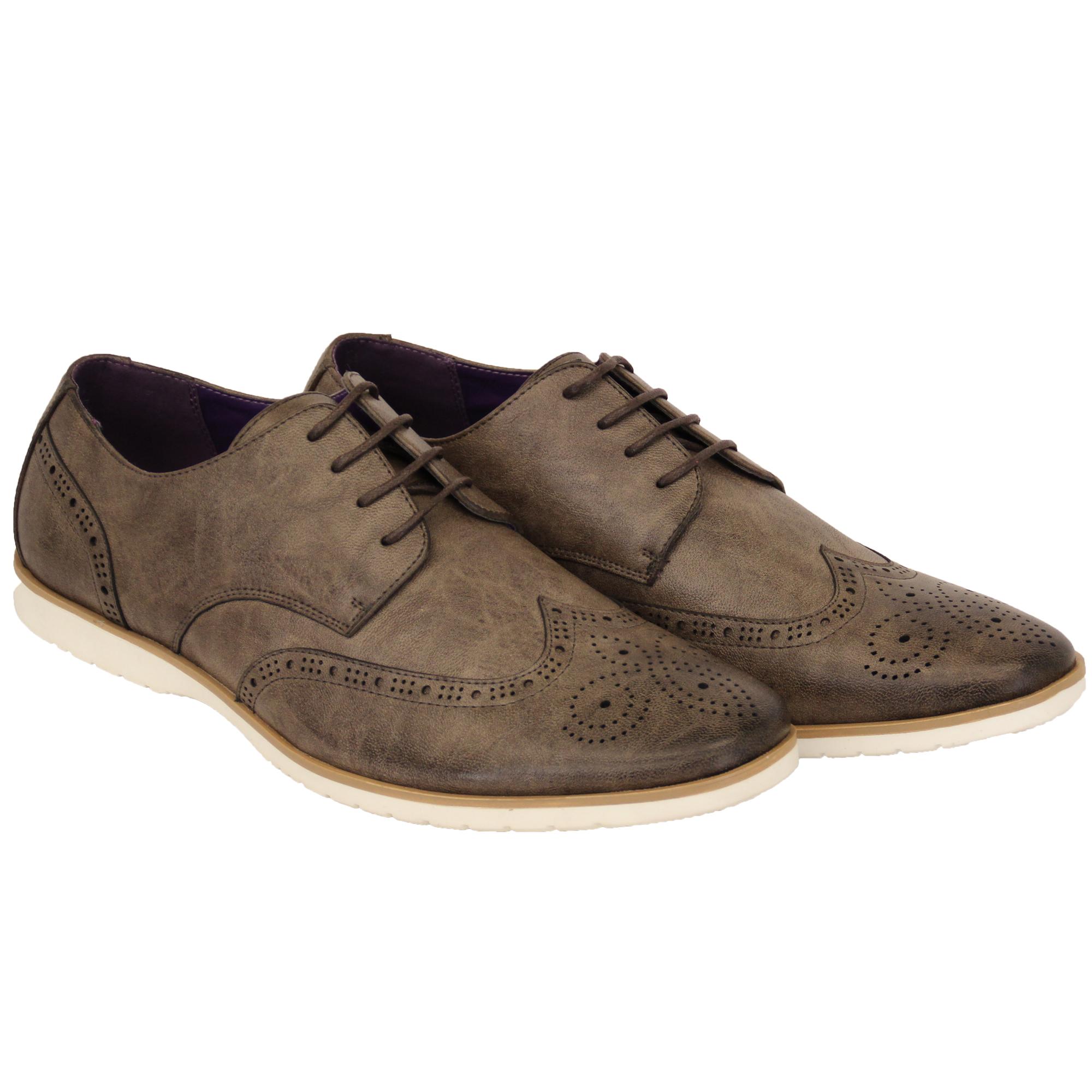 Hombre-Piel-Sintetica-Zapato-Oxford-Cordones-Punta-Afilada-Formal-Italiano-De