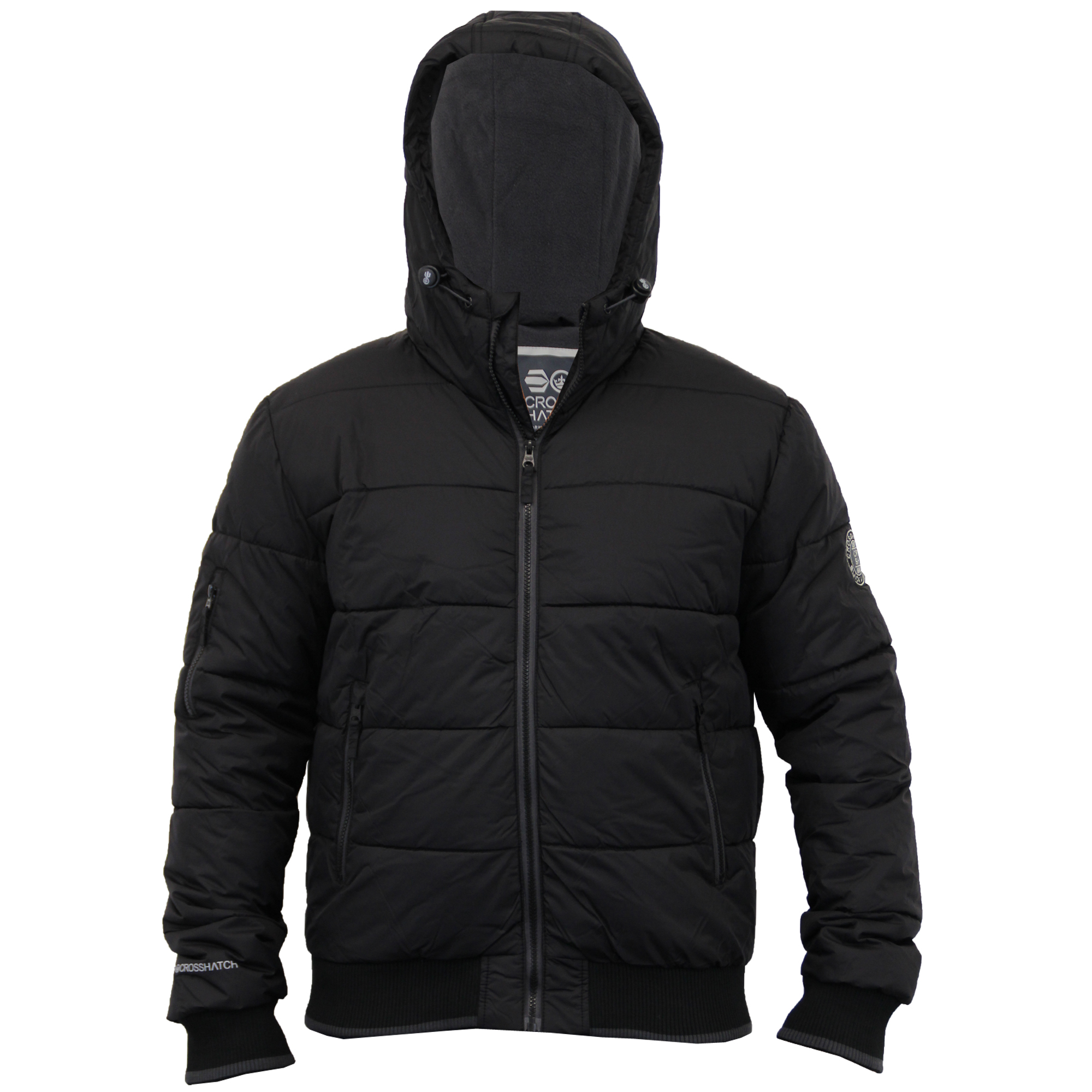 Mens Padded Crosshatch Jacket Quilted Fleece Lined Hooded Winter ...