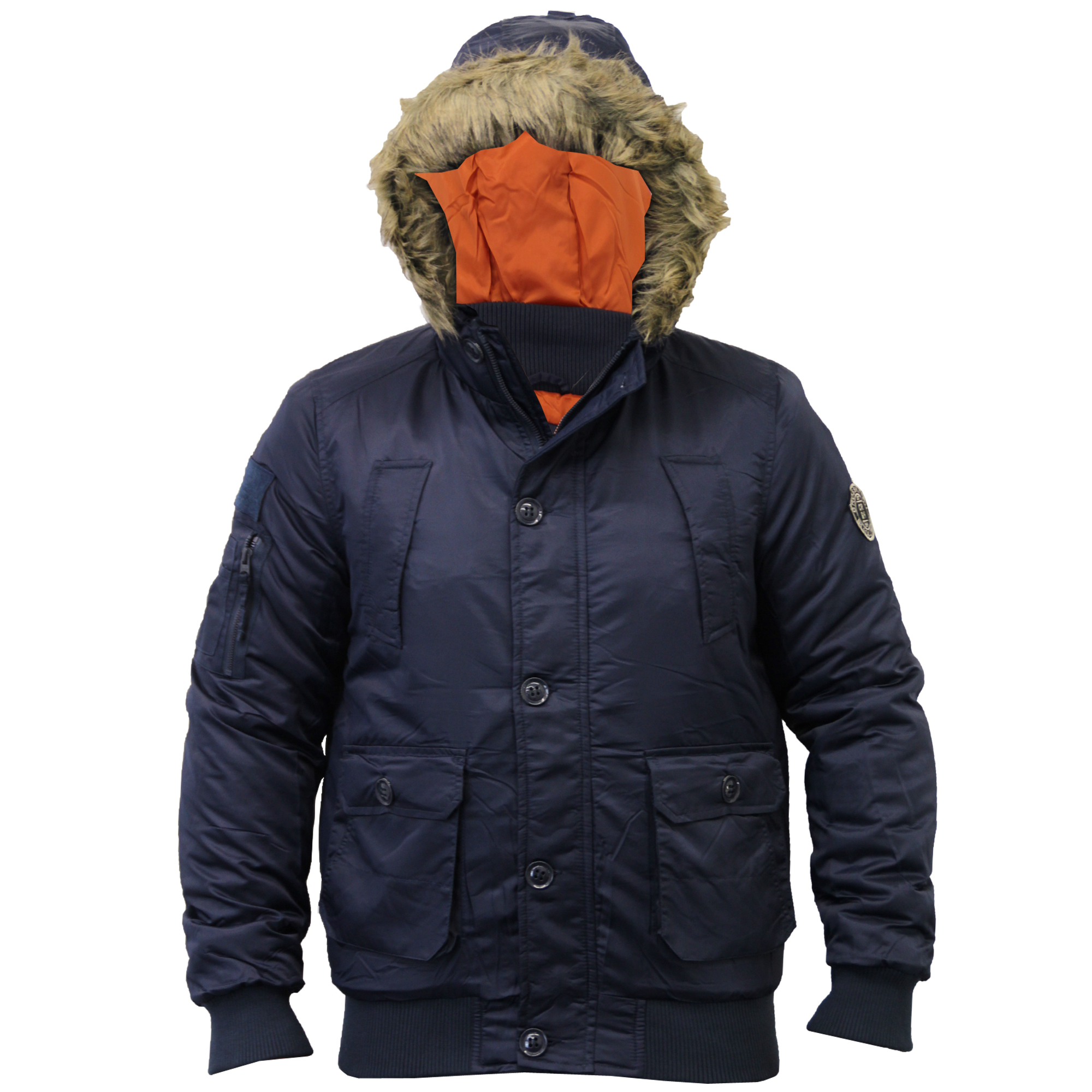 Mens Padded Quilted Short Parka Hooded Fur Jacket Winter Coat By ...