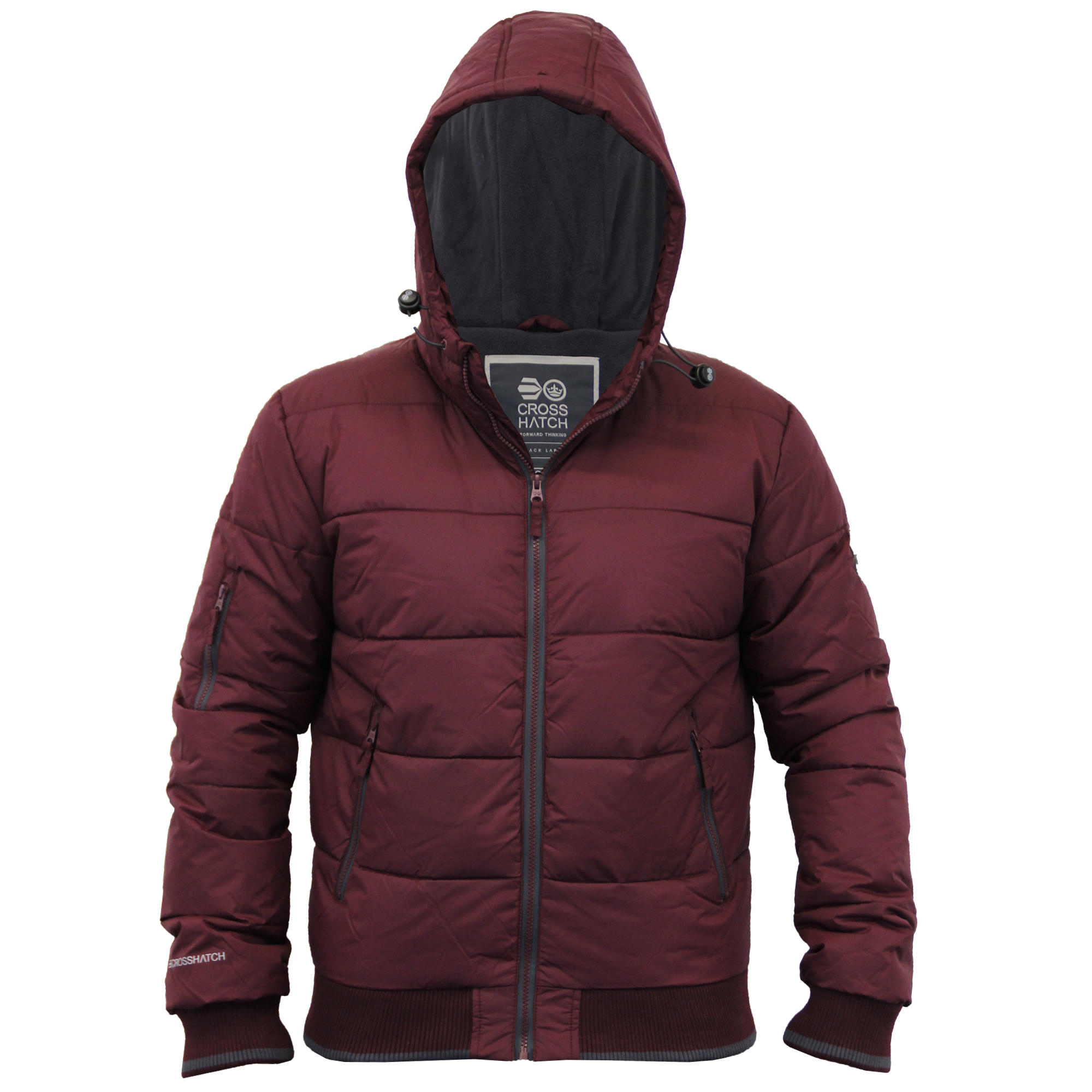 Mens Padded Crosshatch Jacket Quilted Fleece Lined Hooded ...