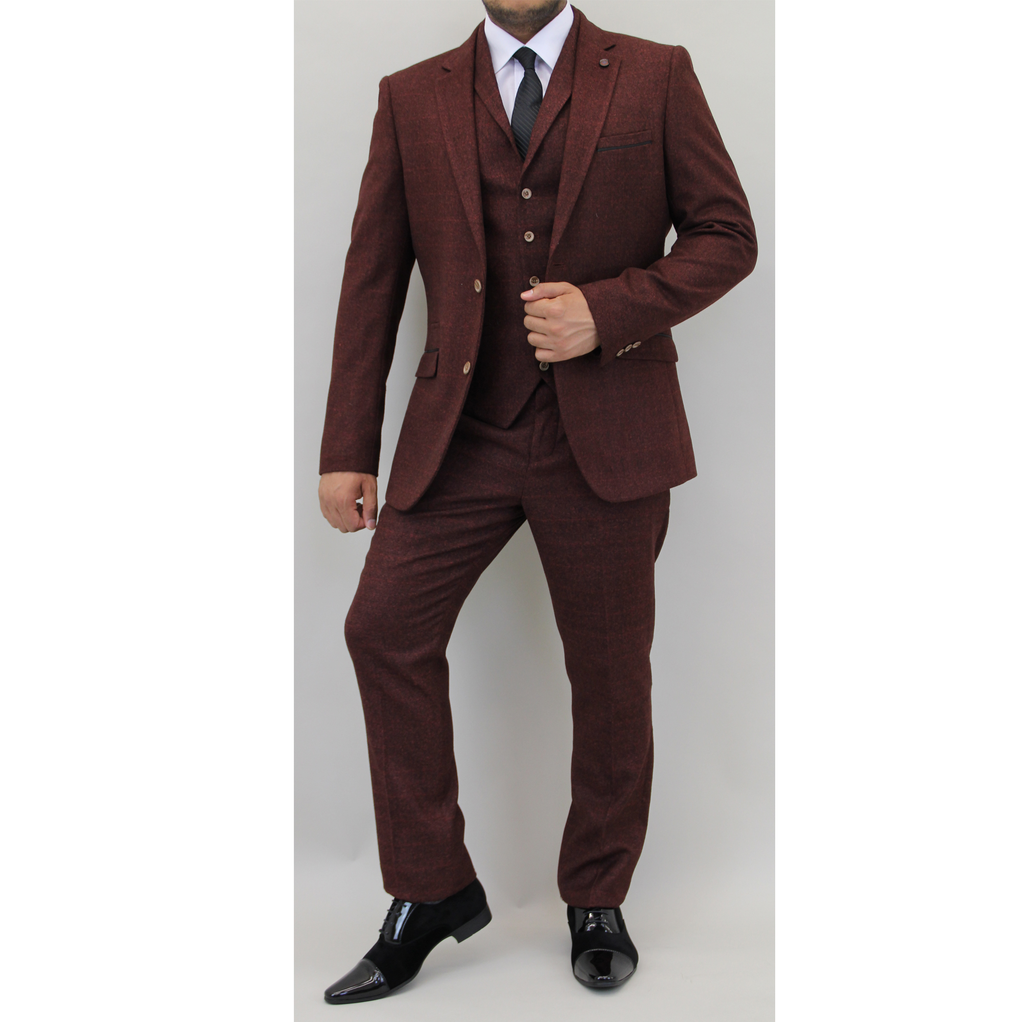 Mens Check 3 Piece Suit Cavani Designer Tweed Blazers Slim Fit ...