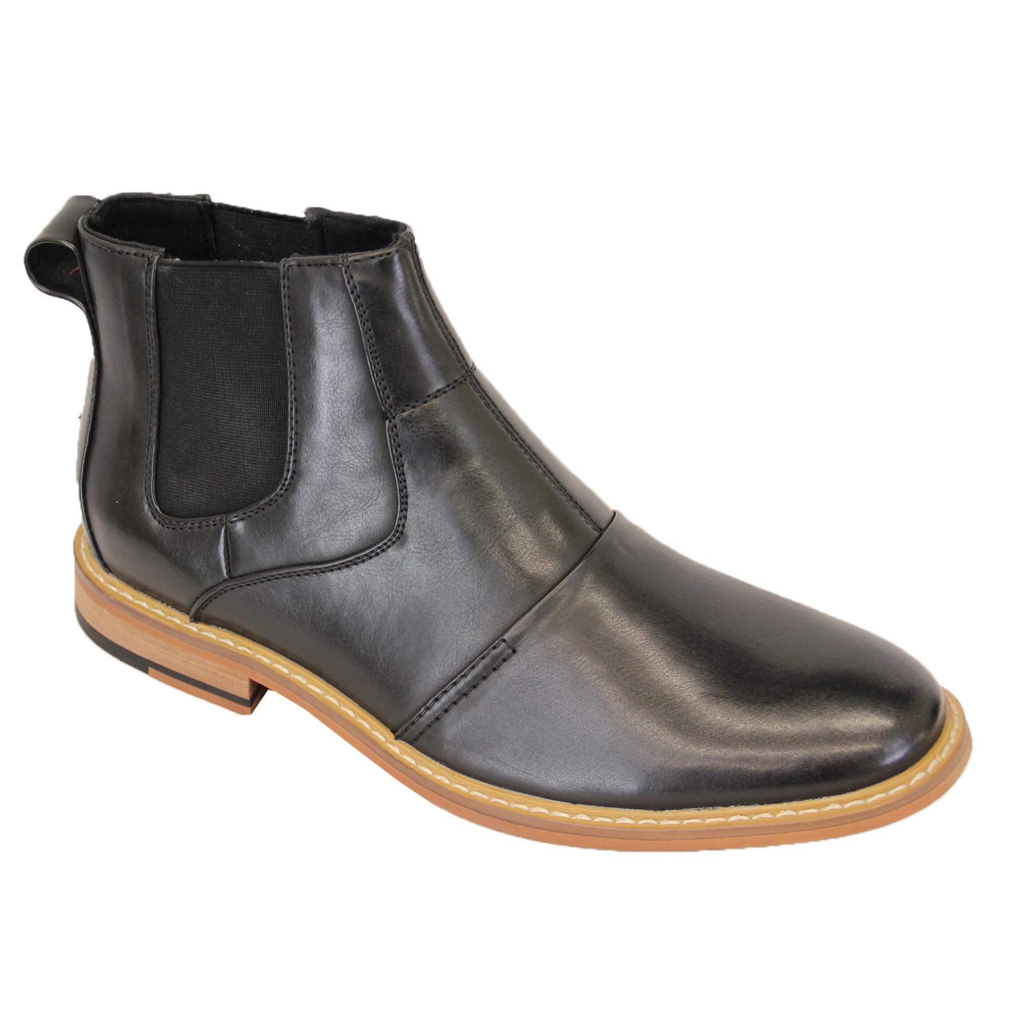 Mens Cavani Boots Chelsea Dealer Shoes High Ankle Leather Look Designer New   EBay