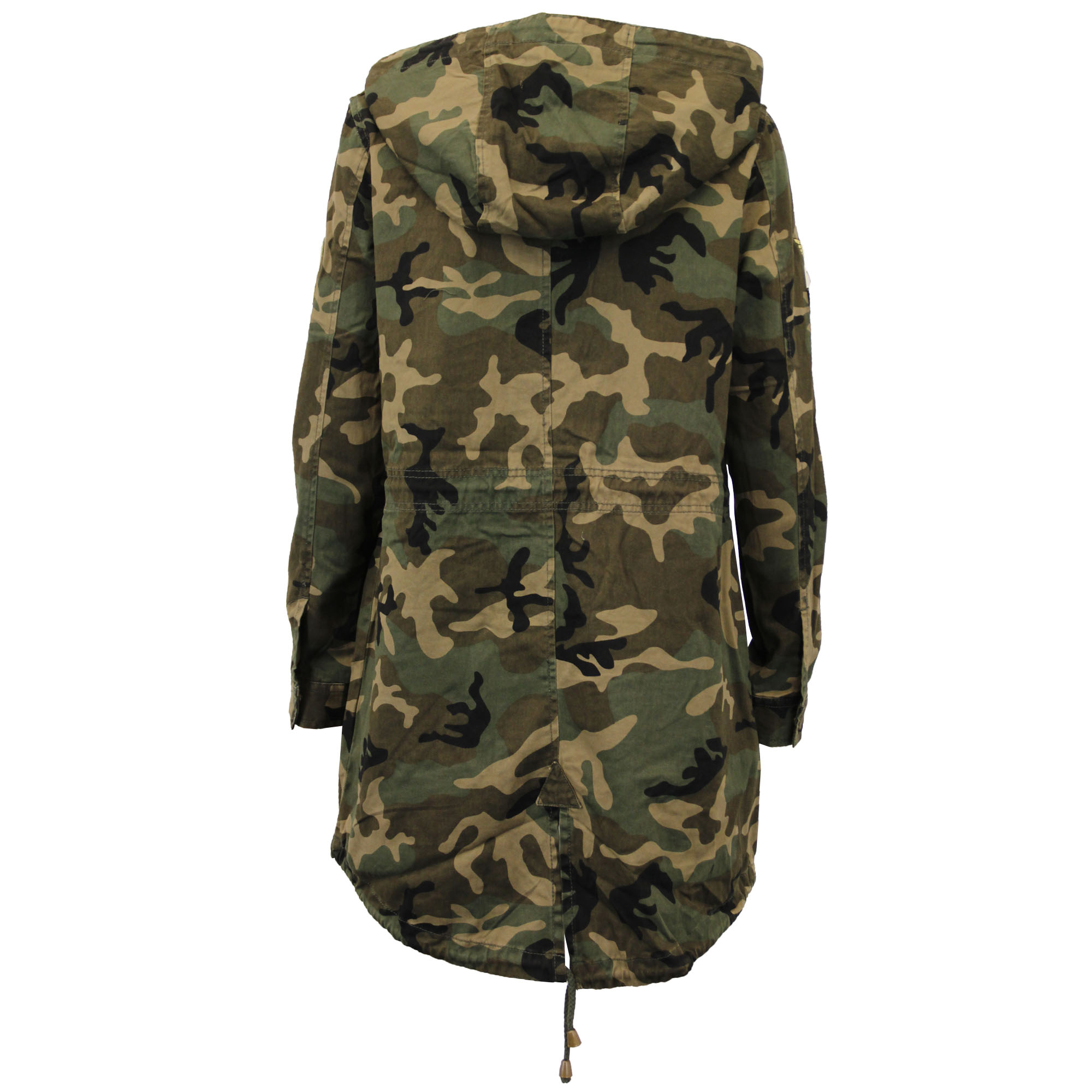 Womens size Large () winter camouflage coat. Has a detachable fur strip on the hood. It is well insulated. No rips or tears. Comes from smoke free, pet free home.