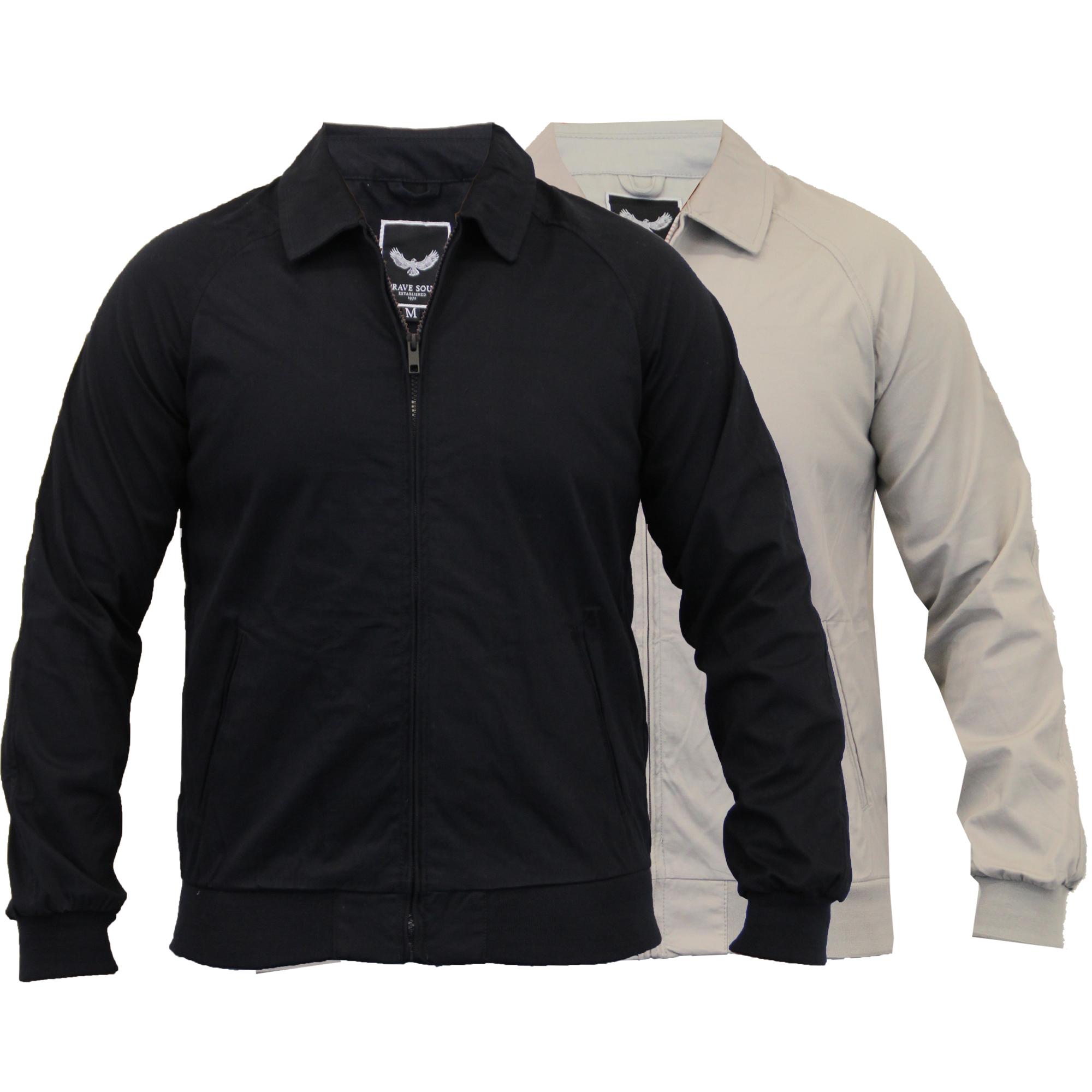 Mens jacket cotton - Mens Jacket Brave Soul Coat Harrington Vintage Bomber