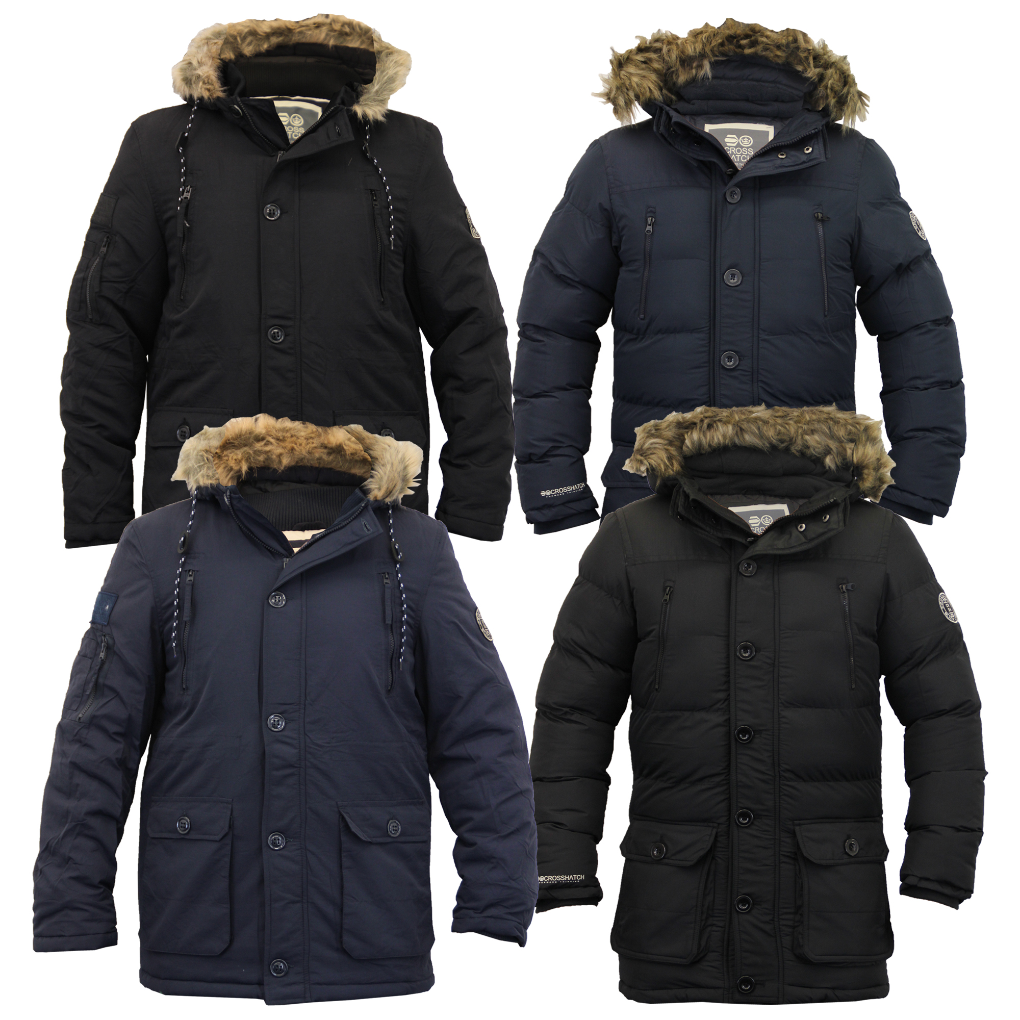 Mens Parka Jacket Crosshatch Coat Hooded Padded Quilted Bubble Fur ...