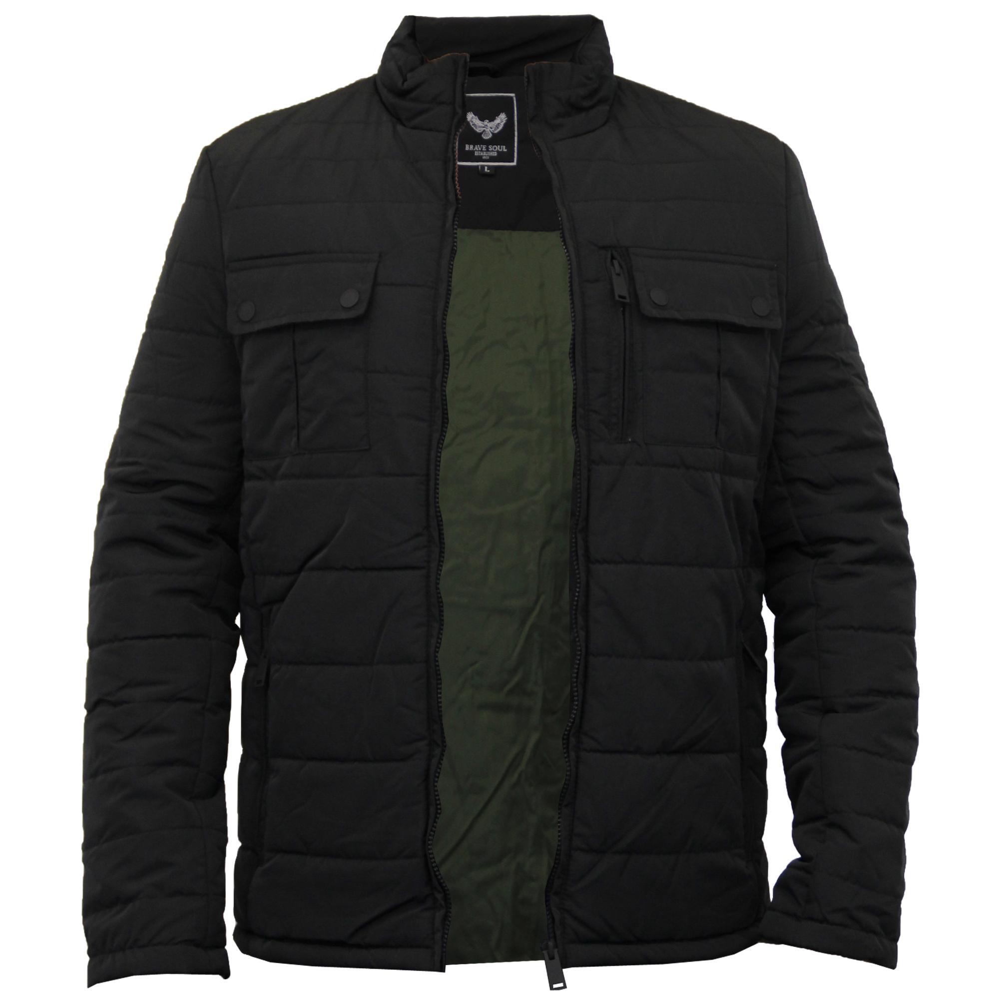 mens jacket brave soul coat quilted padded funnel neck. Black Bedroom Furniture Sets. Home Design Ideas