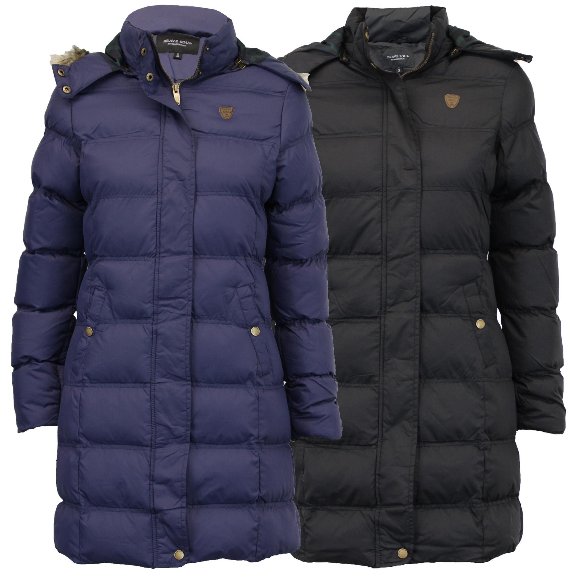 ladies parka jacket brave soul long bubble coat hooded. Black Bedroom Furniture Sets. Home Design Ideas
