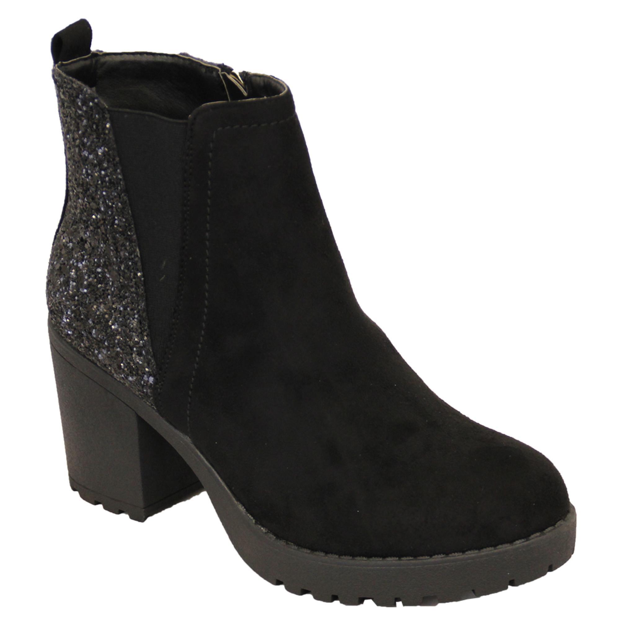 ladies chelsea boots kelsi womens ankle platform glitter suede