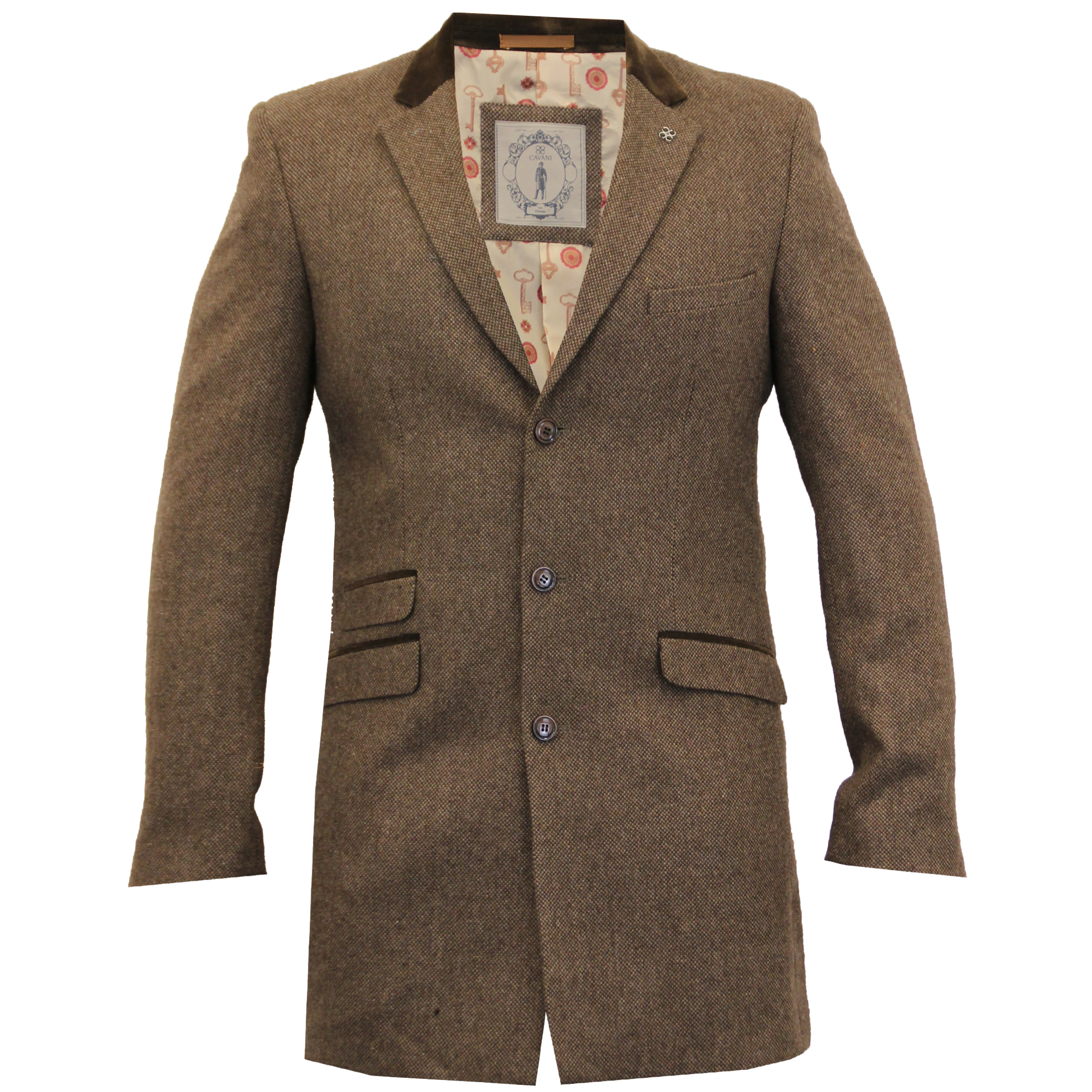 Mens Wool Mix Long Jackets Cavani Trench Coat Slim Fit Checked ...