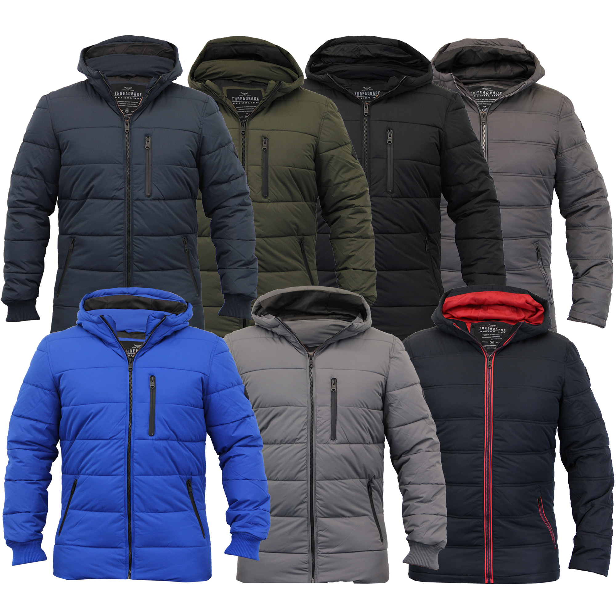 Mens Jackets Threadbare Coat Quilted Padded Hooded Bubble Puffer ...