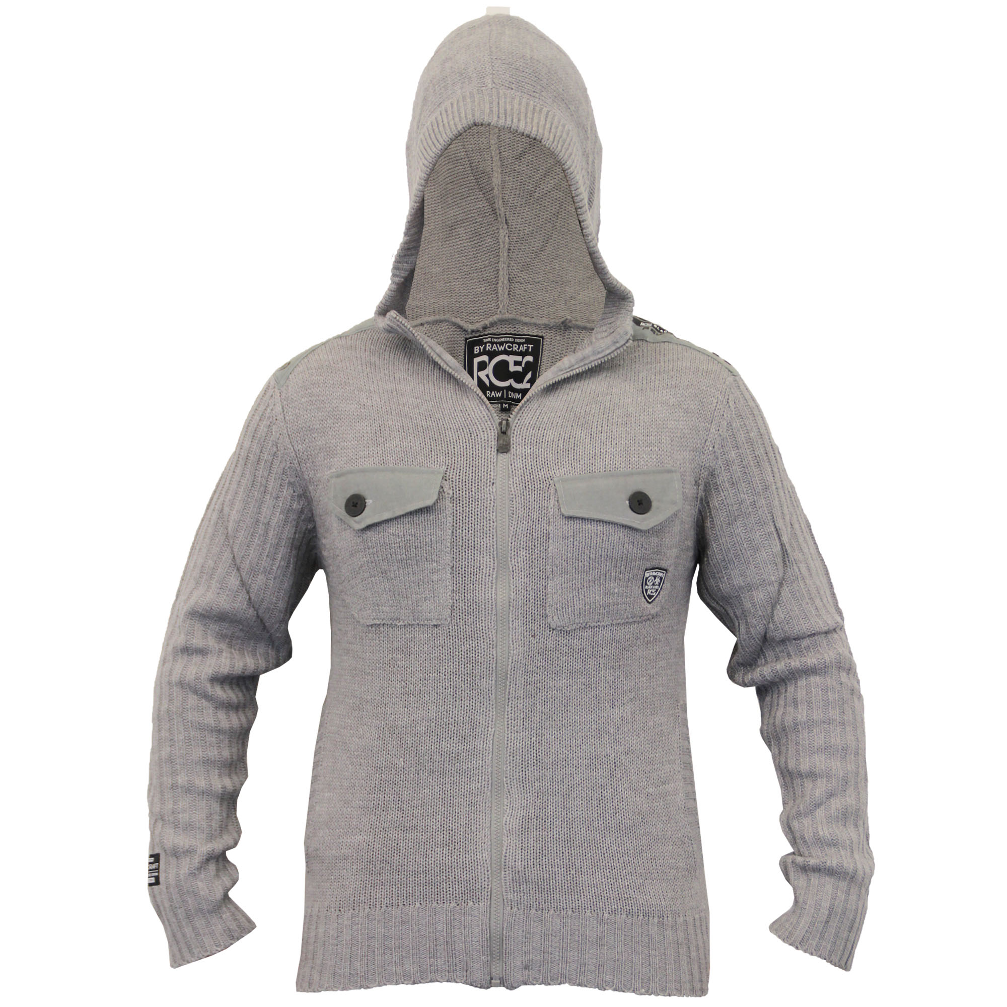 Mens Cardigan Rawcraft Hooded Top Knitted Jumper Military ...