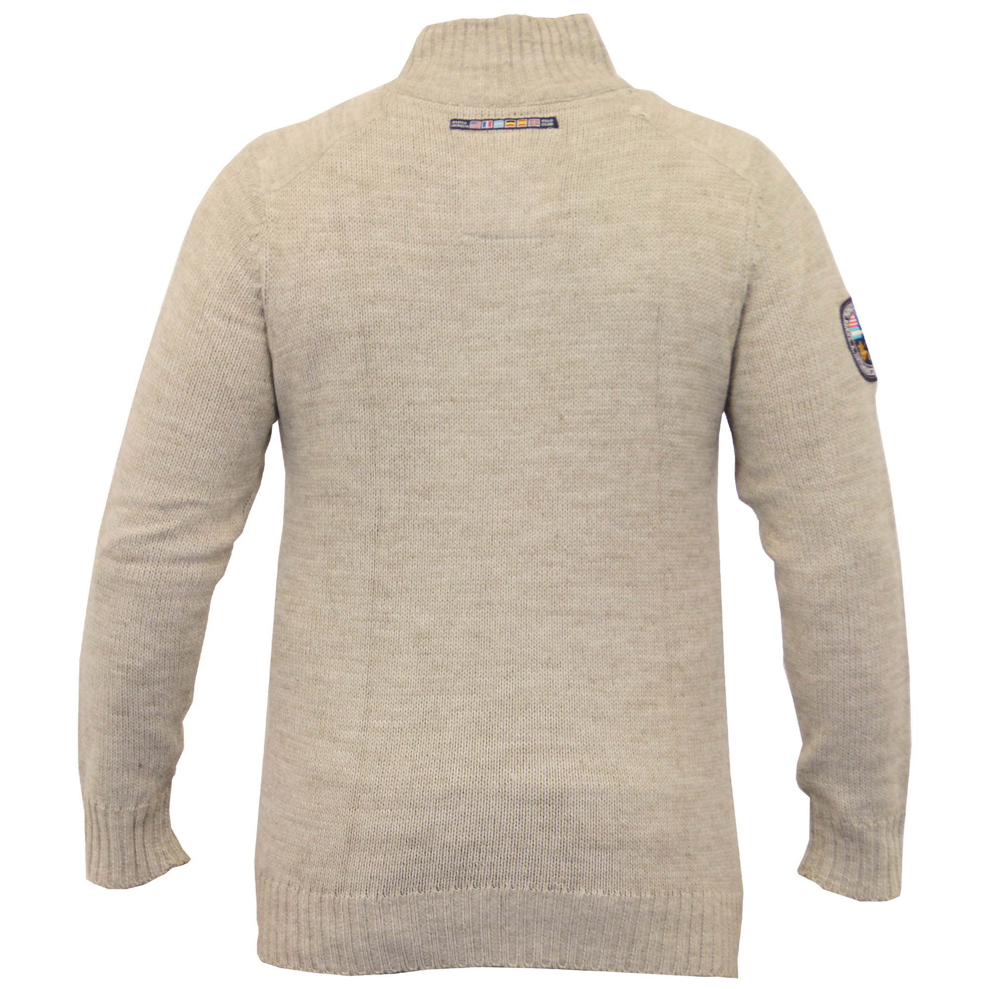 Mens Wool Mix Jumpers Santa Monica Cable Knitted Jacquard Sweater ...