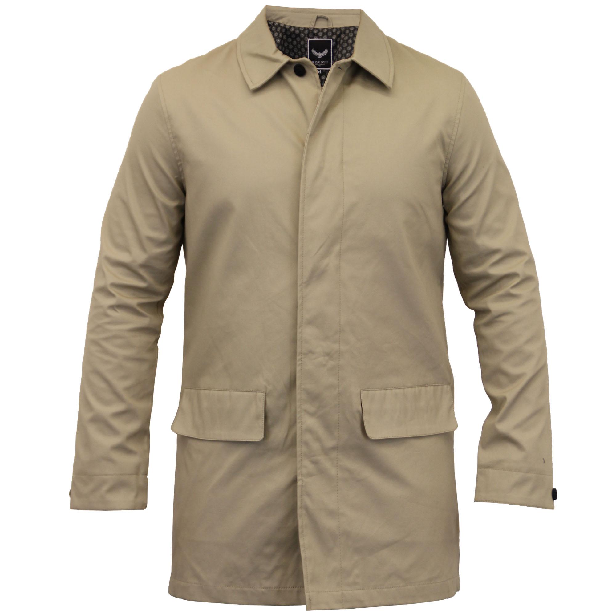 veste pour hommes brave soul manteau long mec trench coton chic d contract ebay. Black Bedroom Furniture Sets. Home Design Ideas