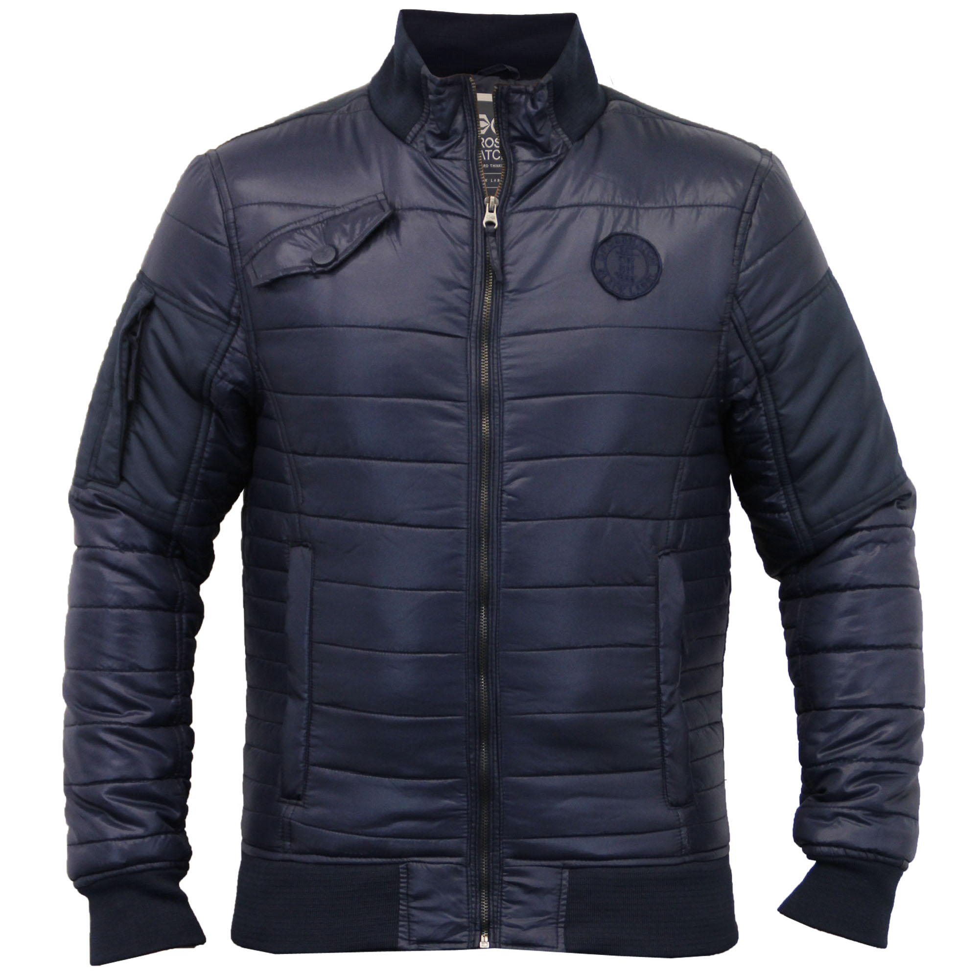 Mens jacket crosshatch coat quilted padded bomber bubble for Quilted jackets for men