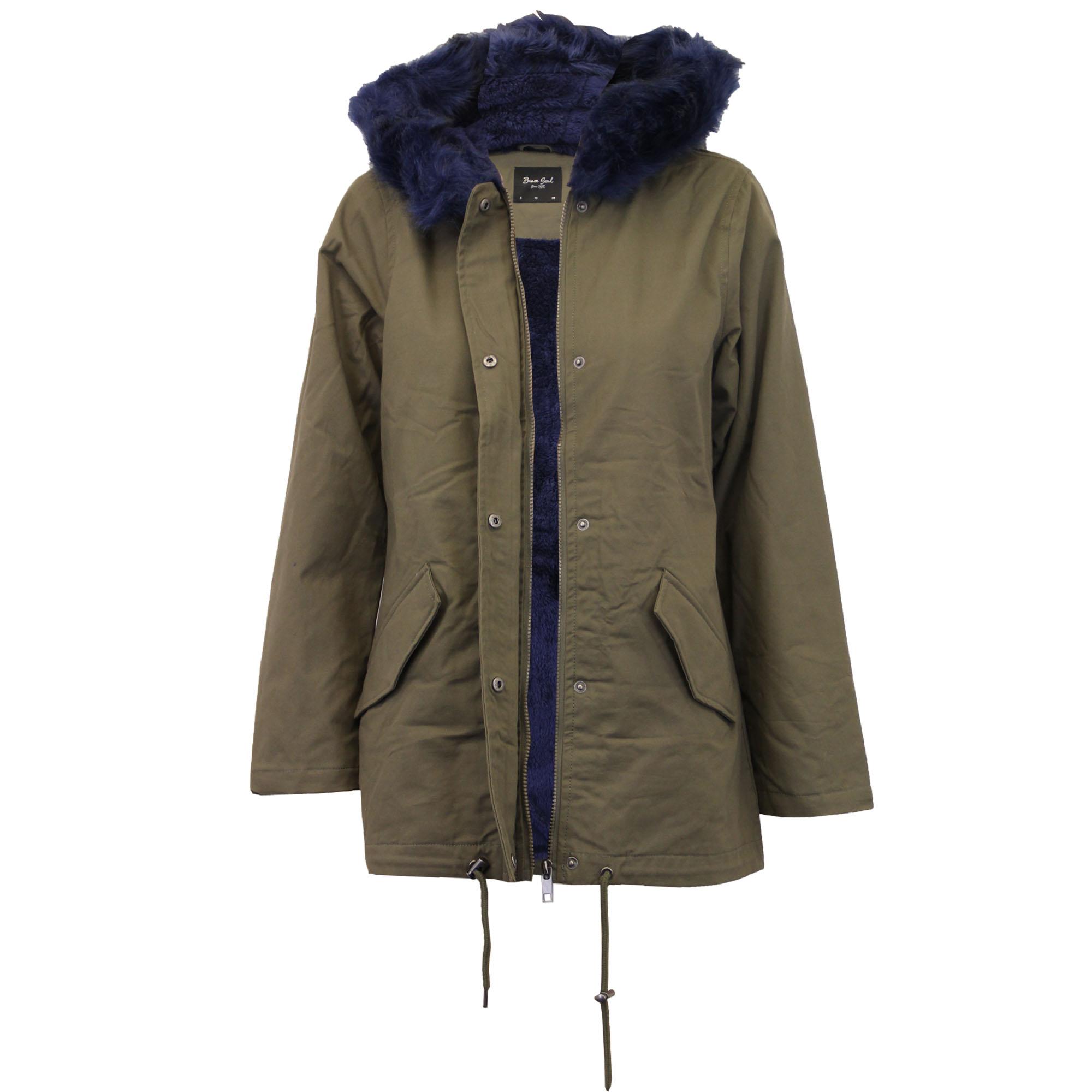 ladies jacket brave soul parka coat hooded fur sherpa. Black Bedroom Furniture Sets. Home Design Ideas