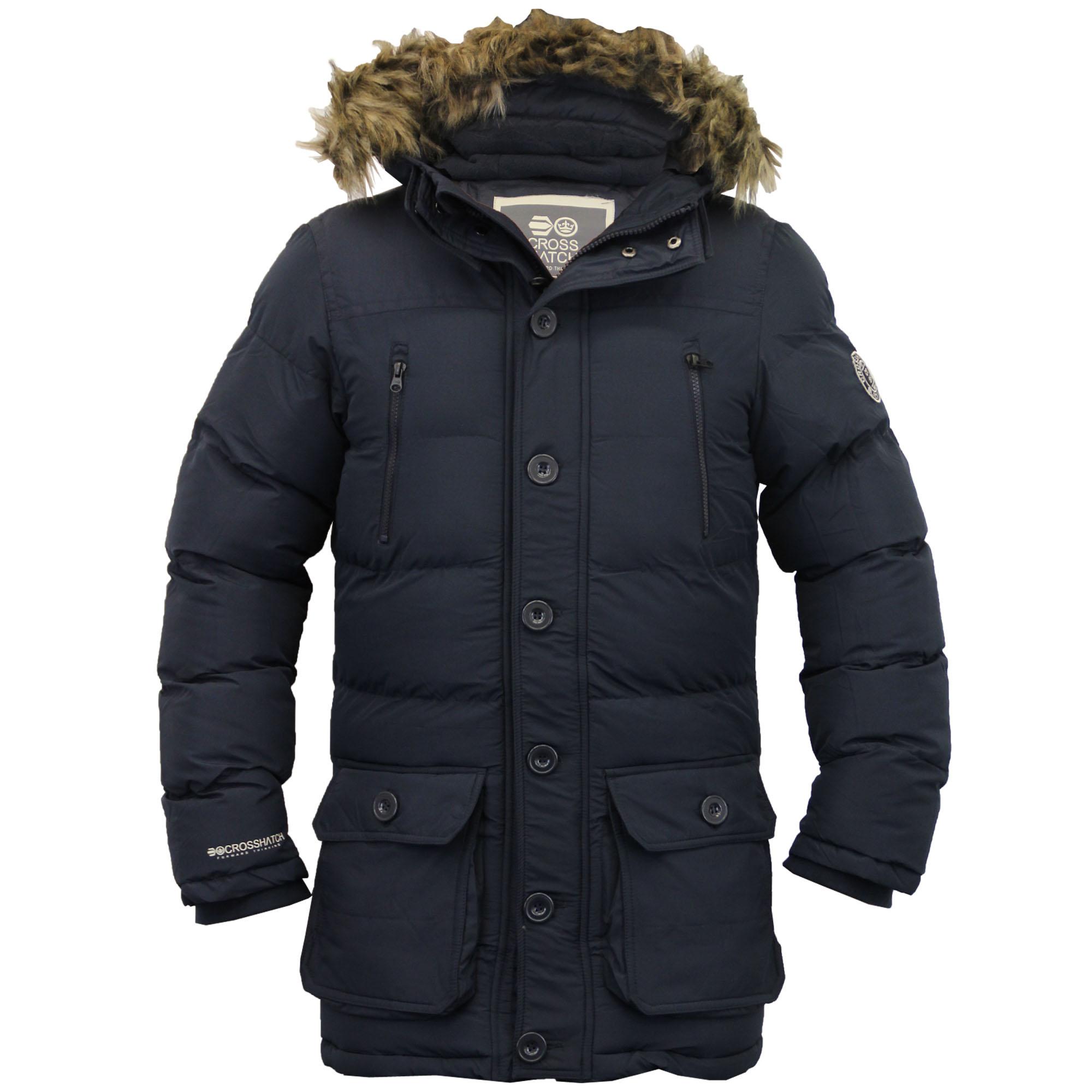 mens parka jacket crosshatch coat hooded padded quilted. Black Bedroom Furniture Sets. Home Design Ideas