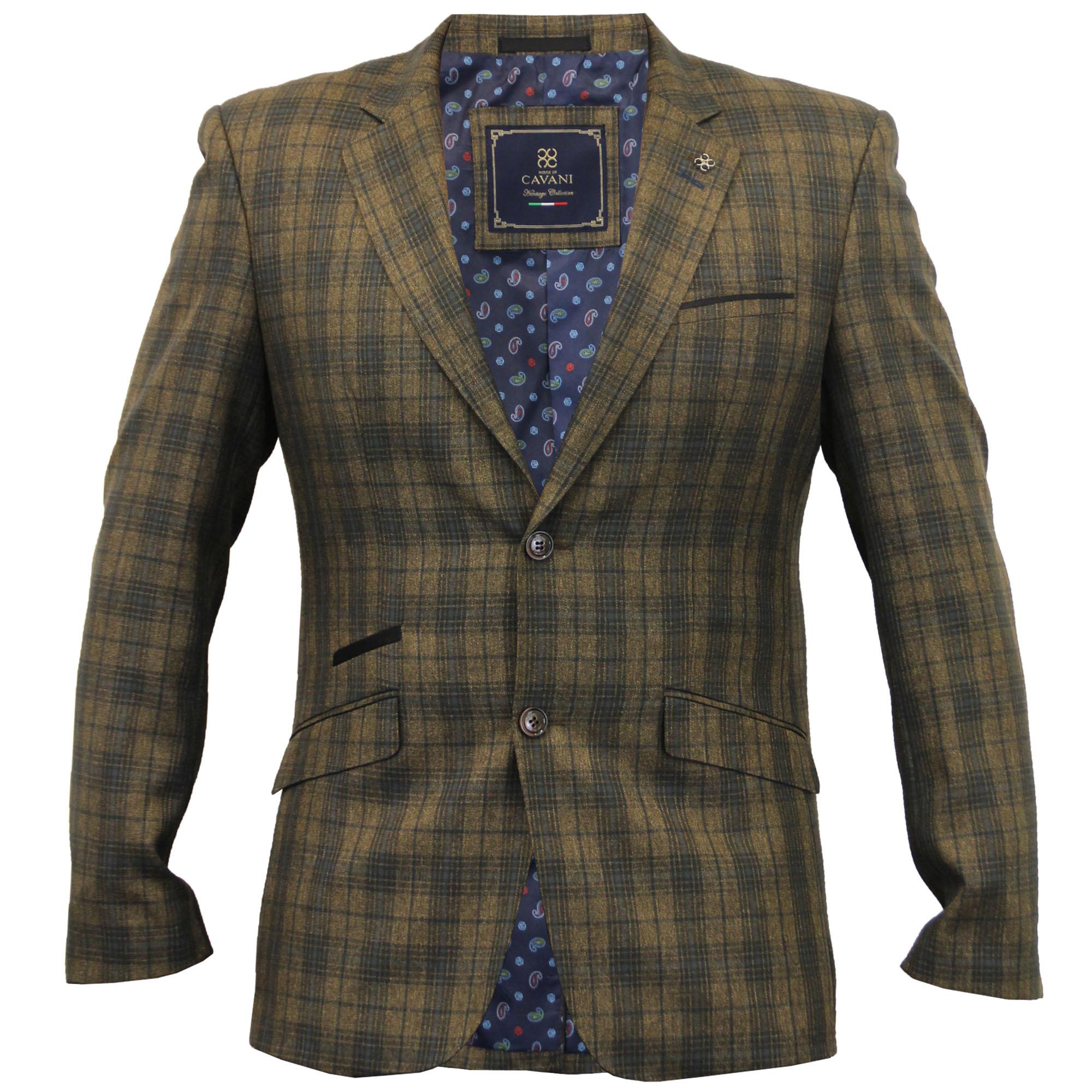 Mens Blazer Cavani Coat Dinner Suit Slim Fit Jacket Tartan Checked ...