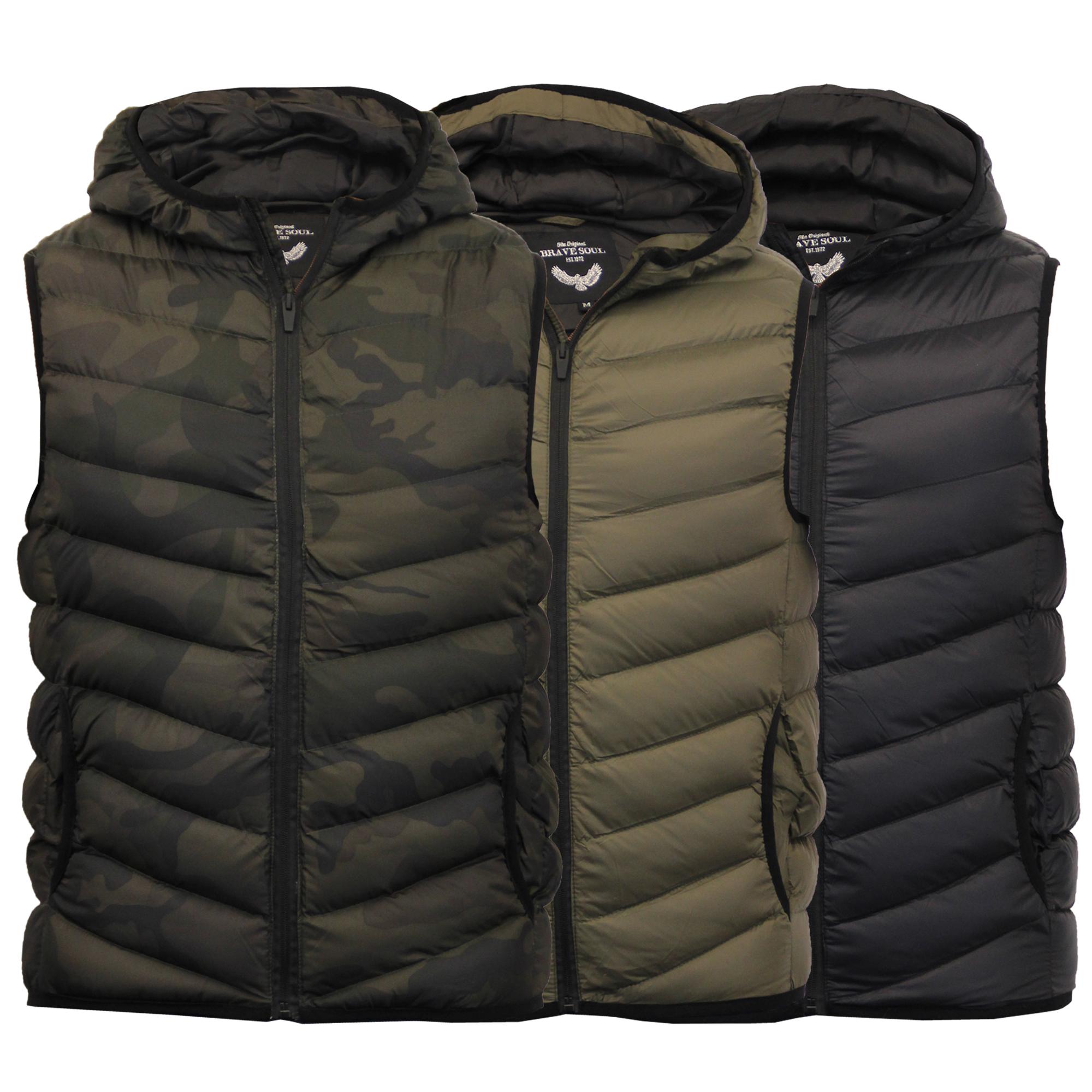 mens gilet brave soul bodywarmer camo military hooded. Black Bedroom Furniture Sets. Home Design Ideas