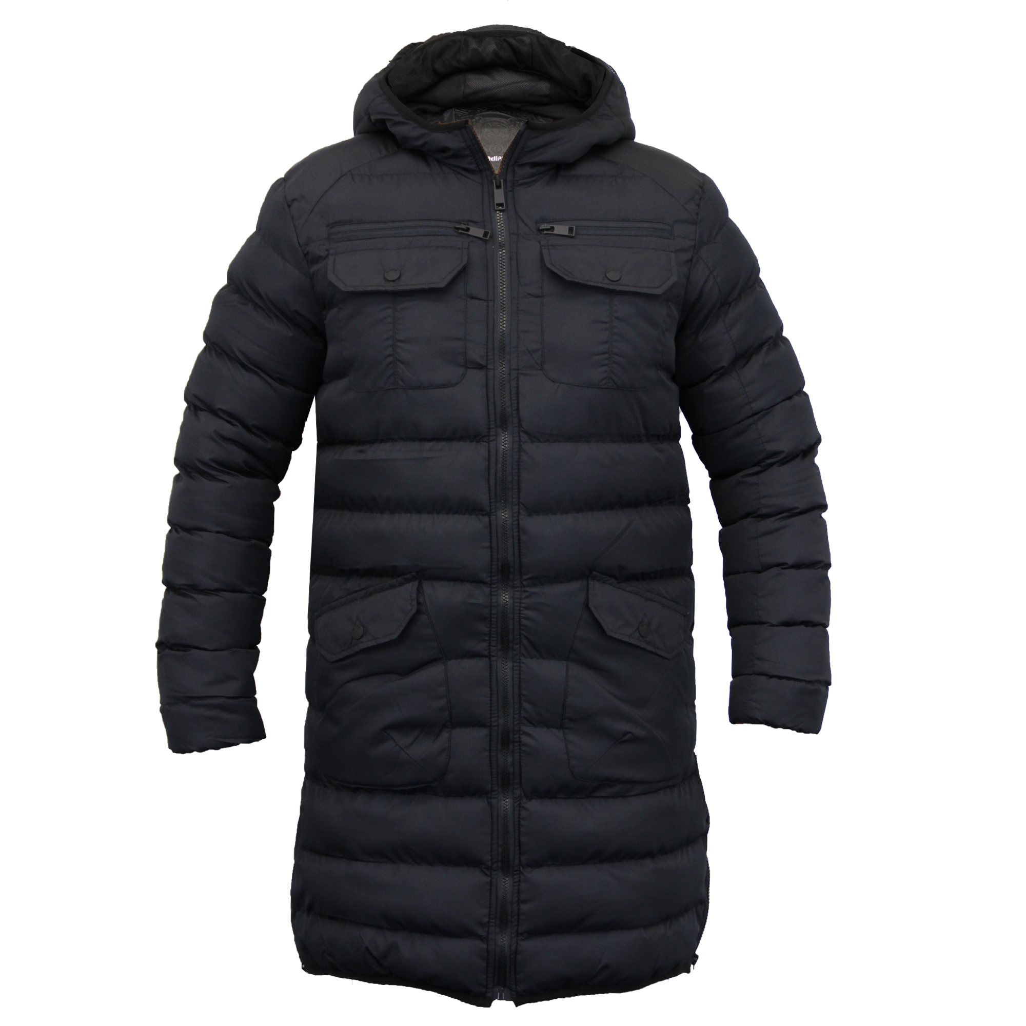 Mens Jacket Eclipse Long Coat Padded Quilted Mesh Hooded Lined ... : long black quilted coat - Adamdwight.com