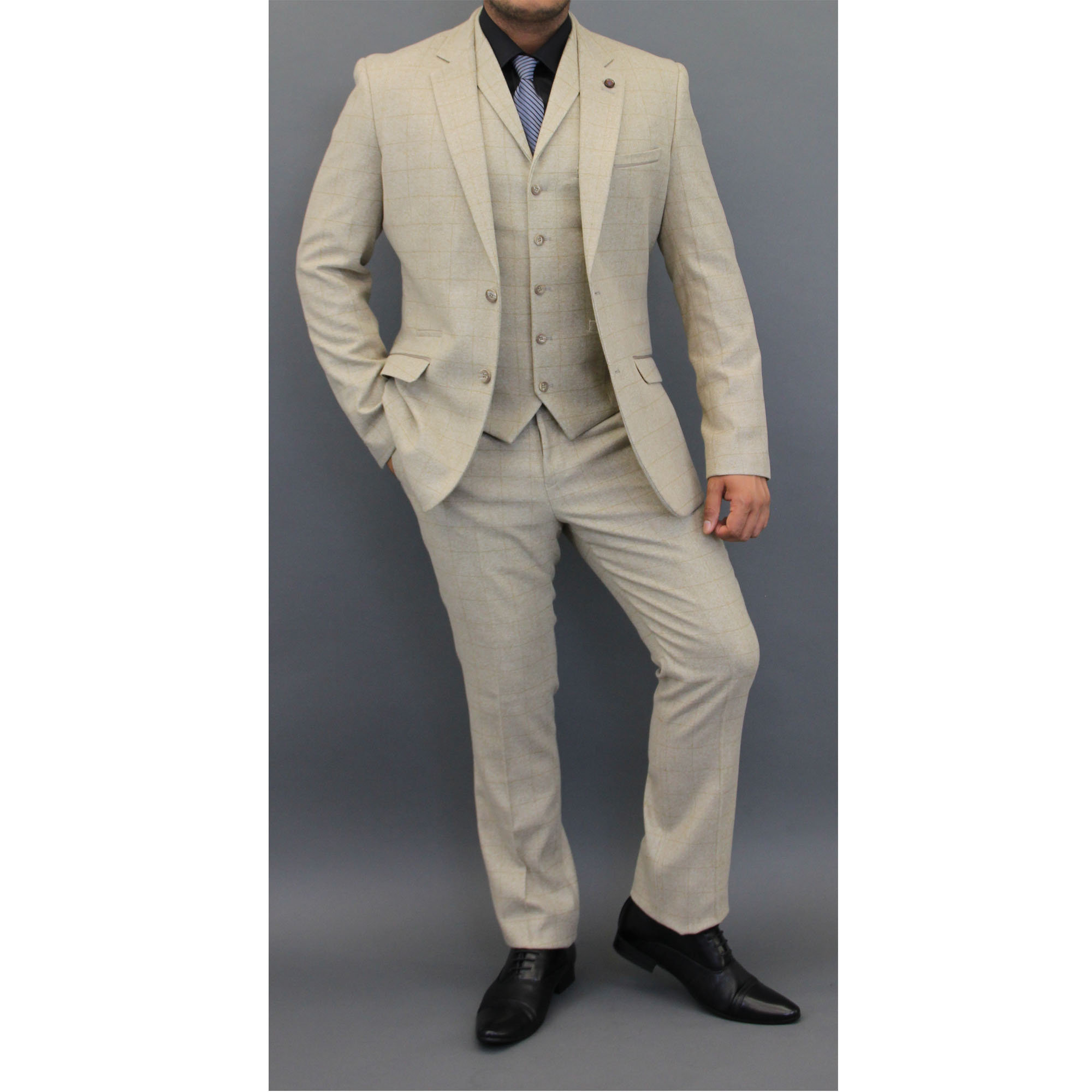 Mens Check 3 Piece Suit Cavani Designer Tweed Blazers Slim Fit ...