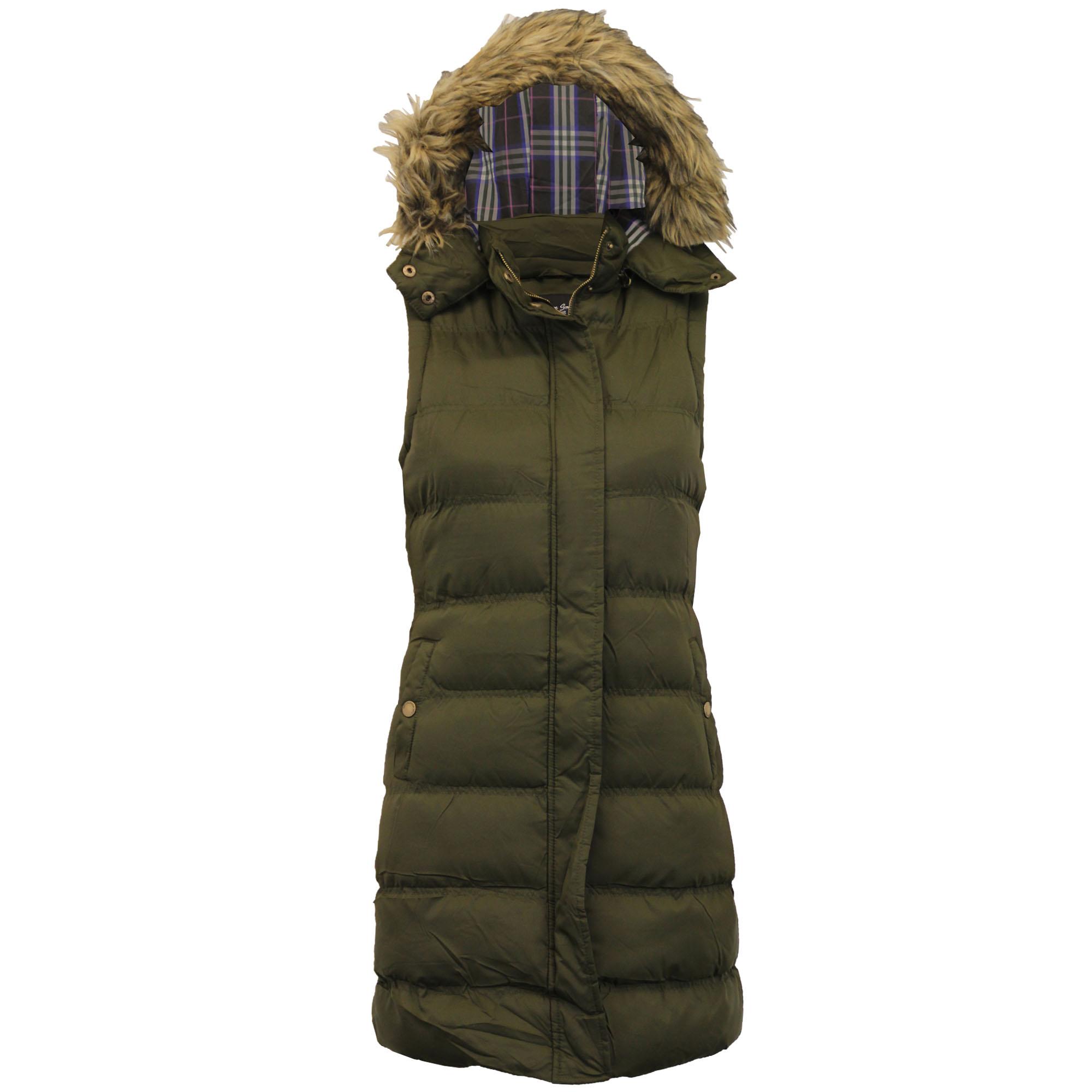 ladies long gilet brave soul womens bodywarmer hooded quilted padded fur winter ebay. Black Bedroom Furniture Sets. Home Design Ideas