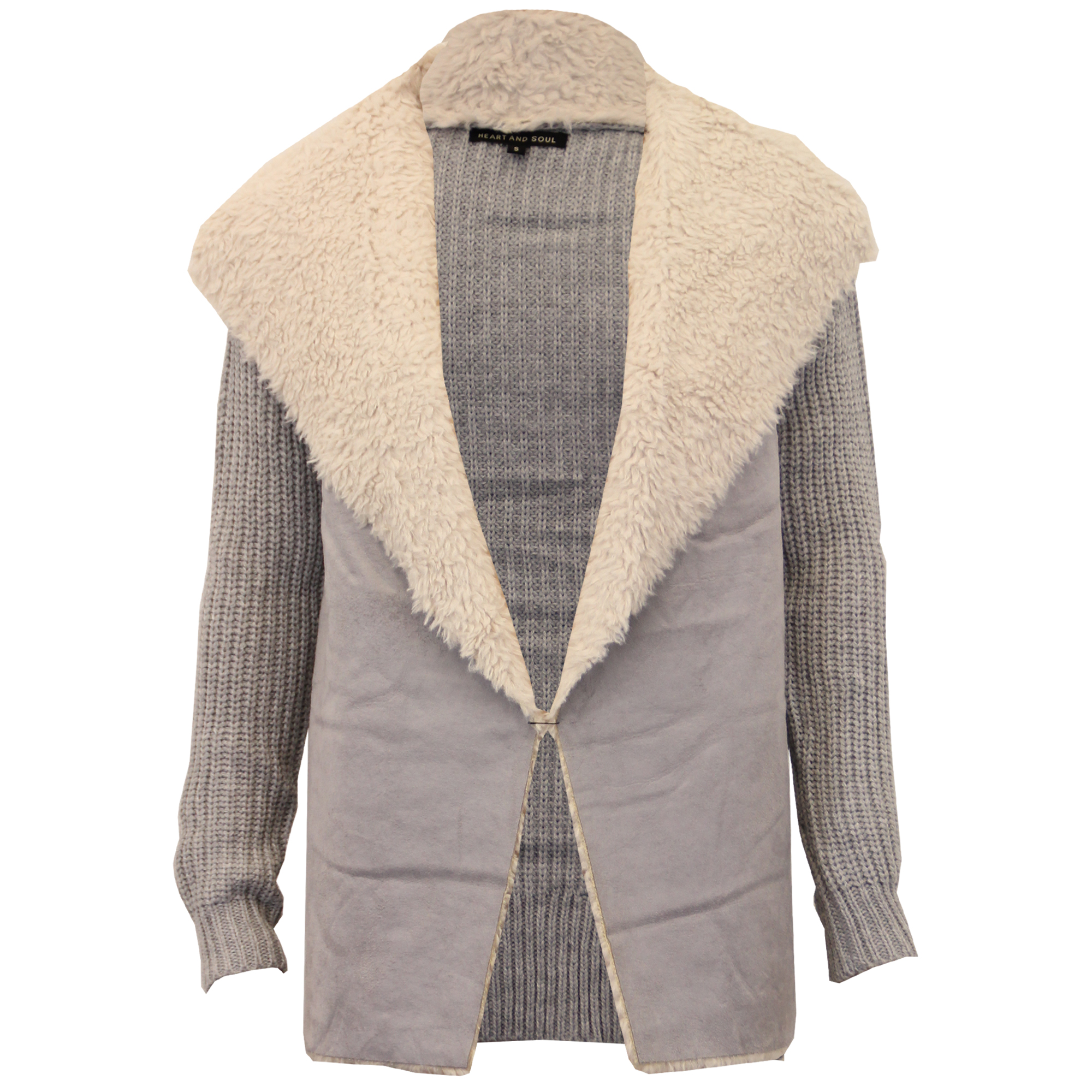 ladies cable knitted cardigan suede look women sherpa collar Heart ...