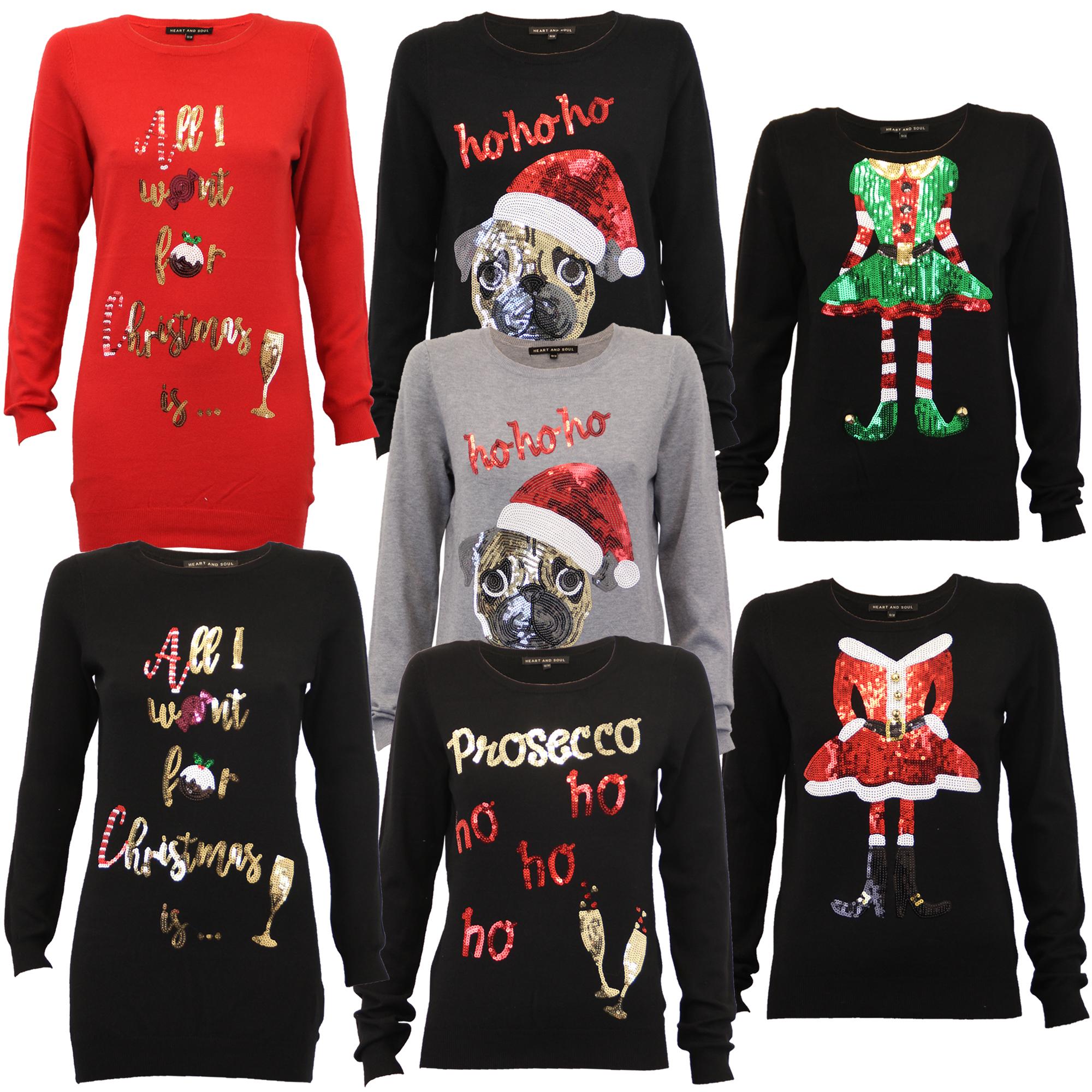 35276c6e7340 Ladies Christmas Xmas Jumper Elf Novelty Santa Womens Sequin Knitted ...