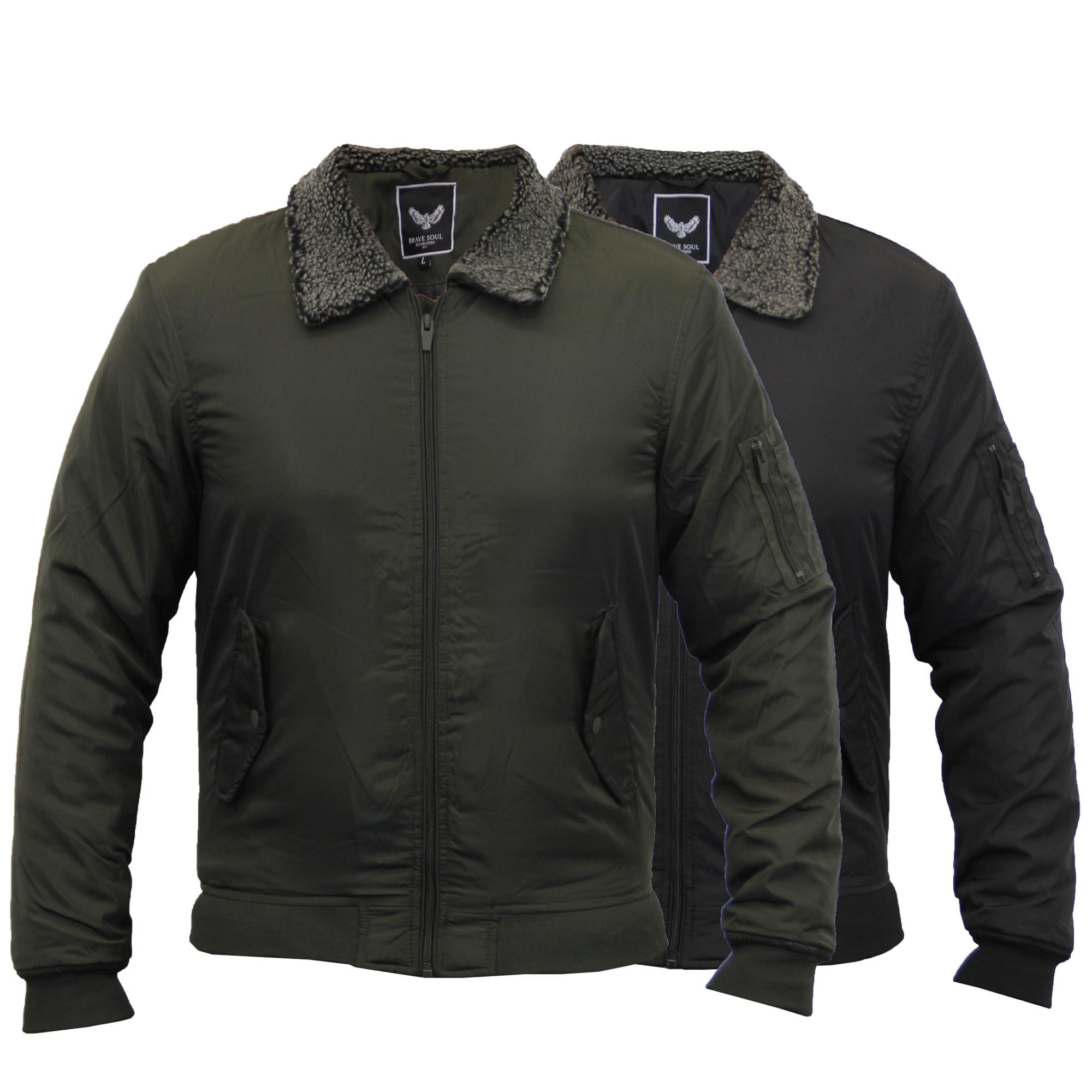 mens flying jacket brave soul sherpa fleece collar quilted. Black Bedroom Furniture Sets. Home Design Ideas
