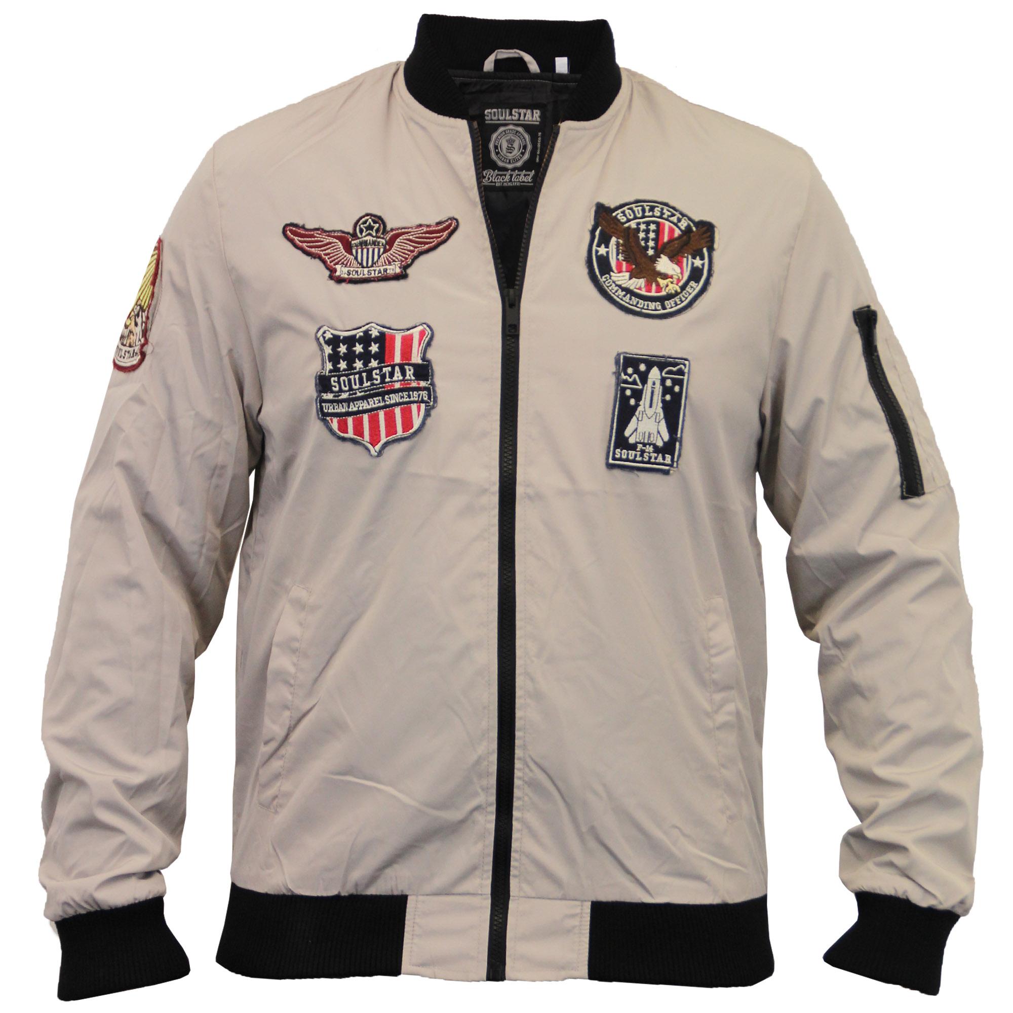 Mens Badge Jacket Soul Star MA1 Harrington Coat Baseball Bomber Casual Winter | EBay