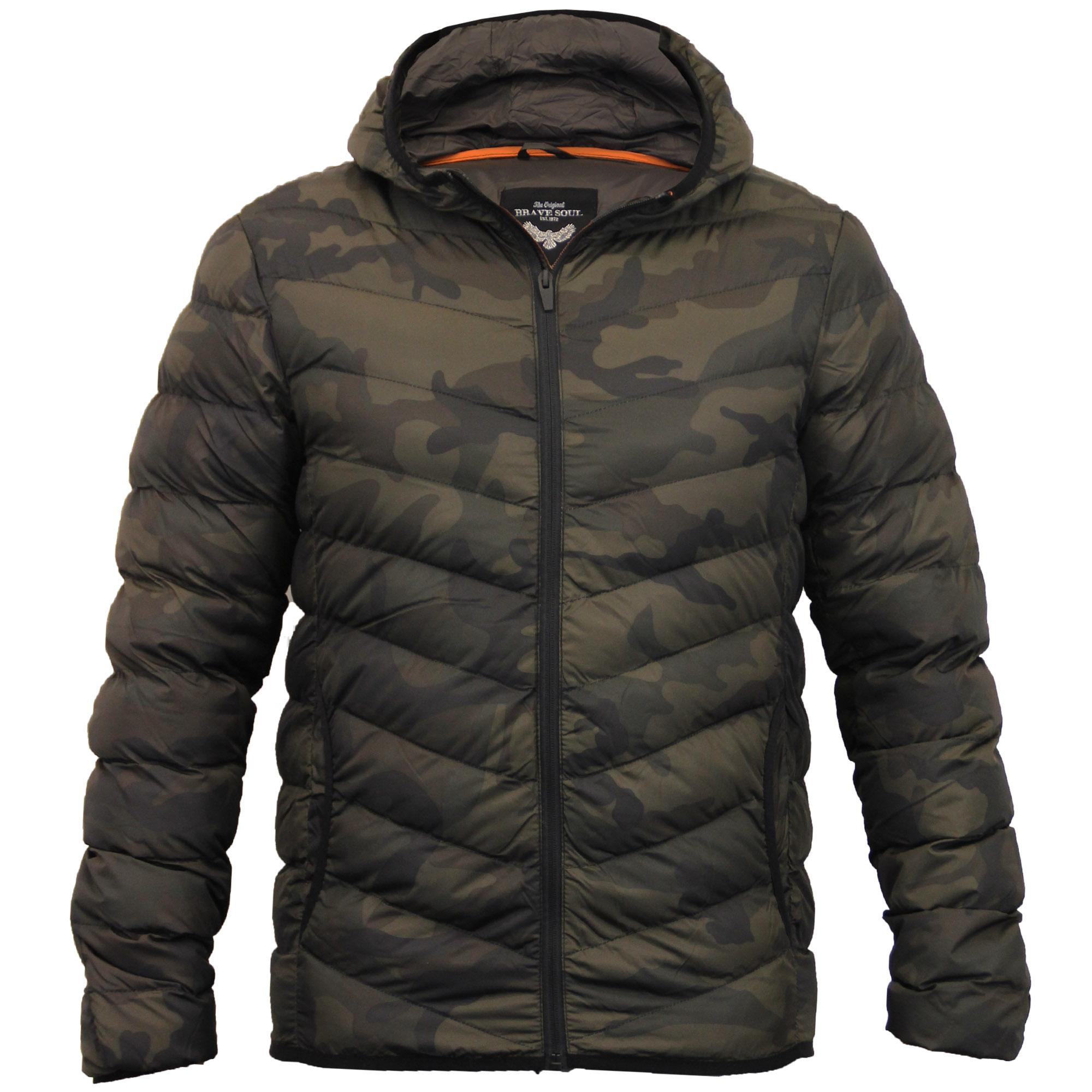 mens bubble jacket threadbare coat hooded camo military. Black Bedroom Furniture Sets. Home Design Ideas