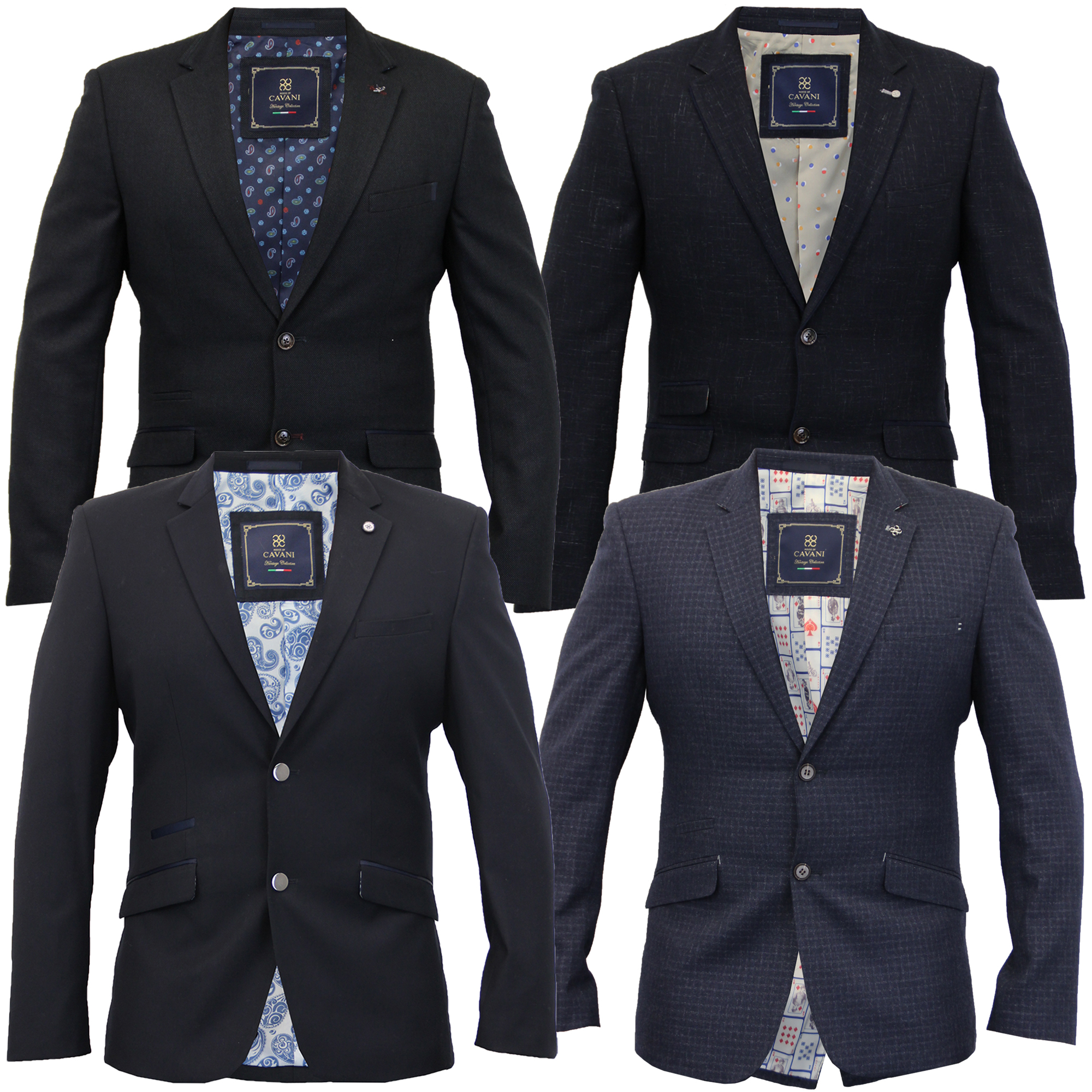Mens Blazer Cavani Coat Dinner Suit Slim Fit Jacket Tweed Formal ...
