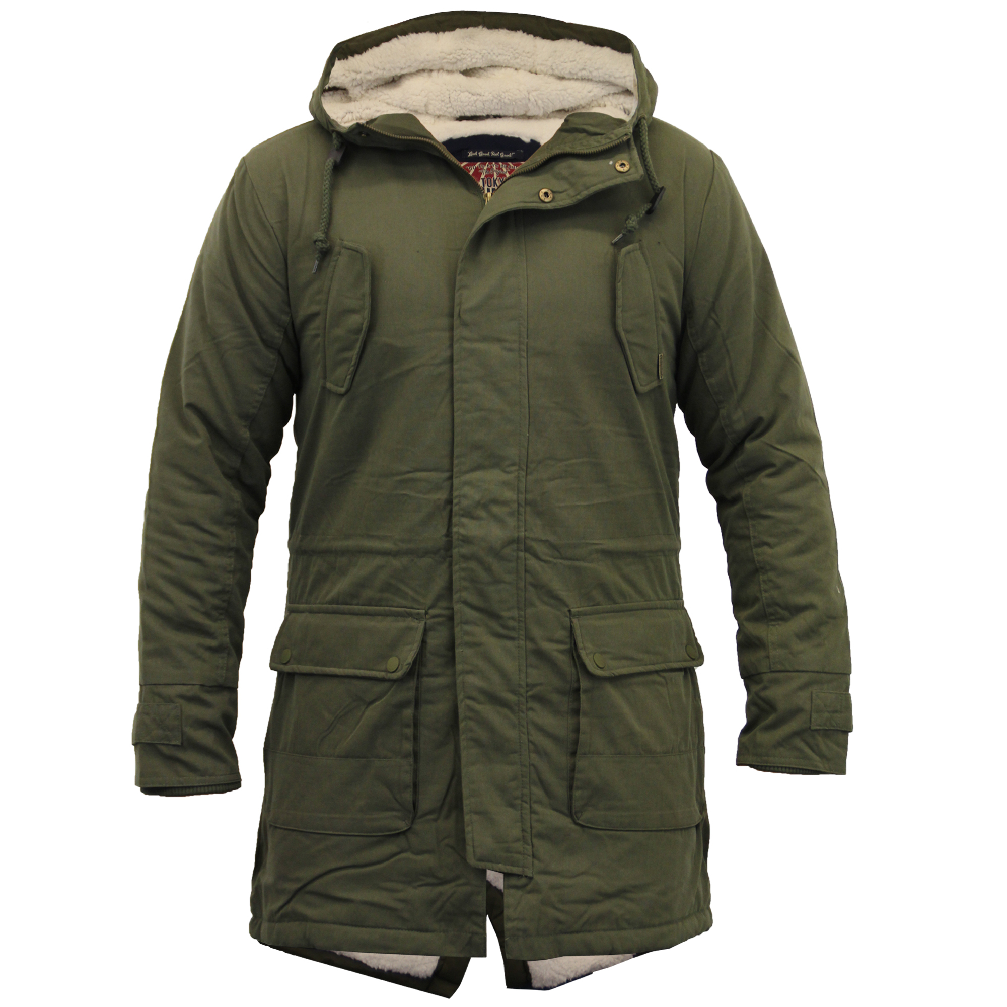 mens jacket tokyo laundry parka coat hooded sherpa lined. Black Bedroom Furniture Sets. Home Design Ideas