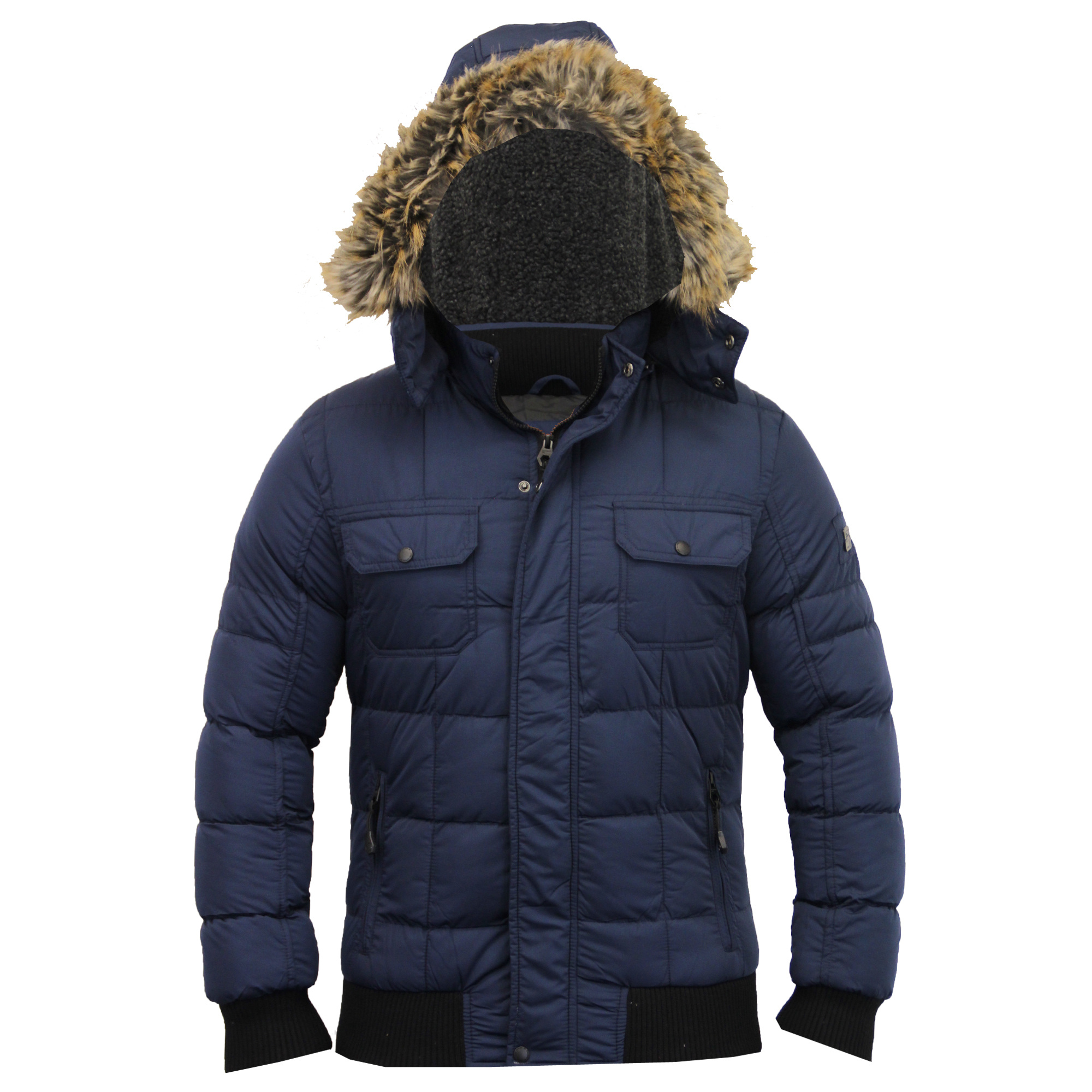 Mens Jacket Dissident Short Parka Coat Padded Sherpa Fleece Hooded ...