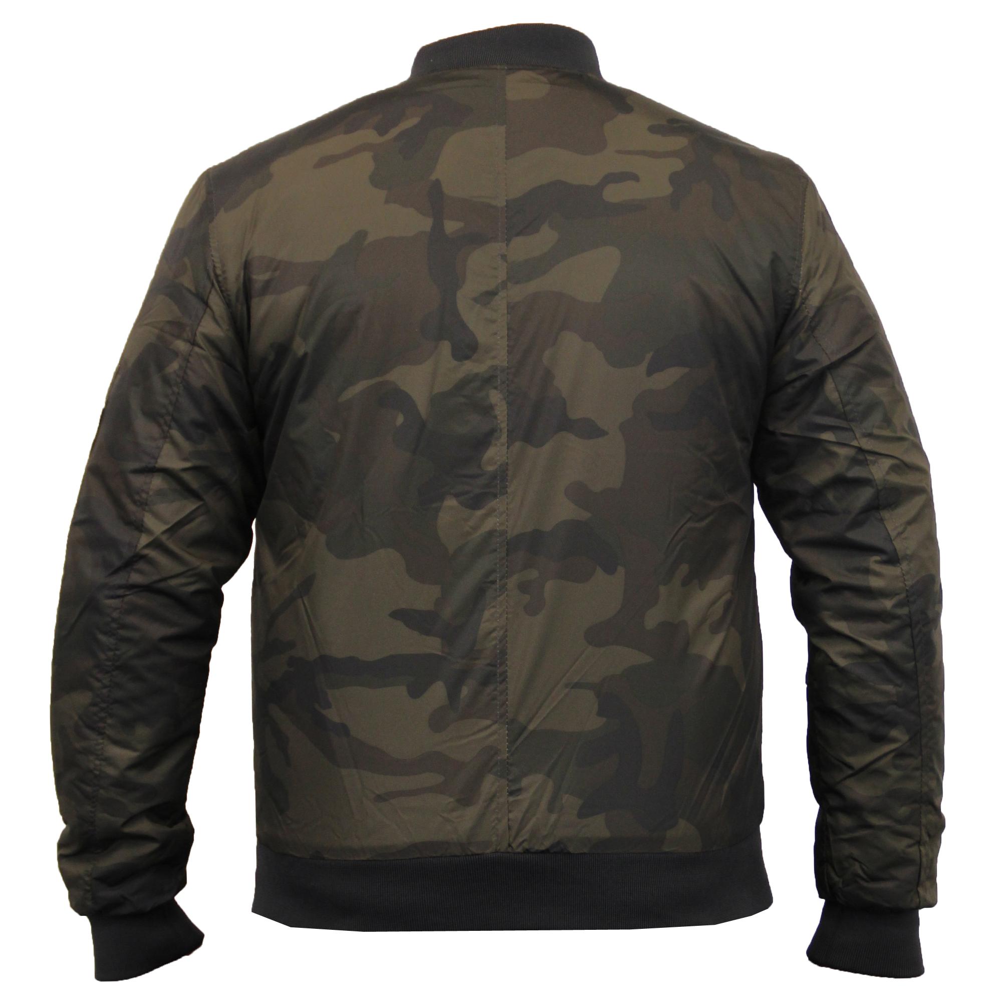 Mens Jacket Brave Soul MA1 Harrington Camo Military Bomber ...
