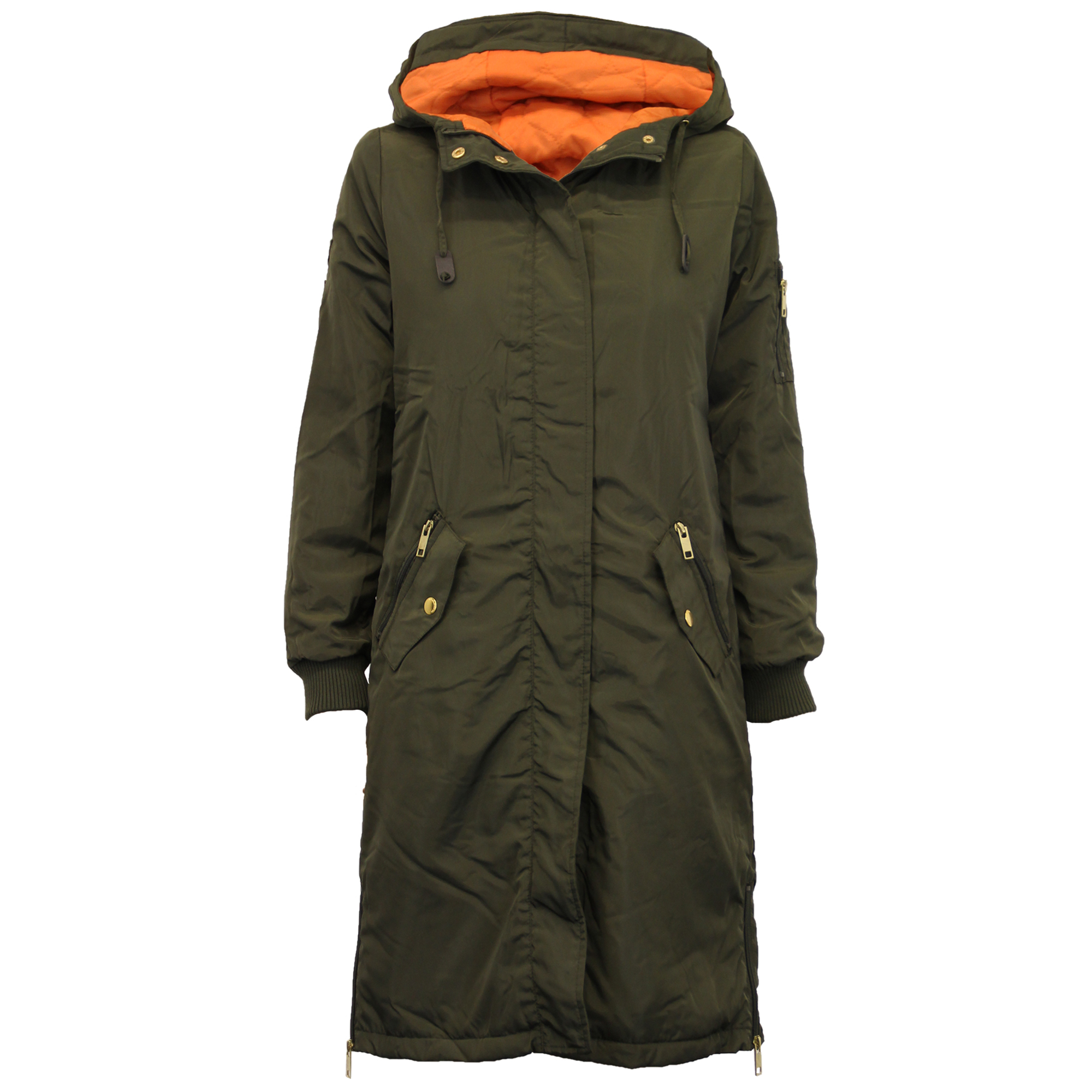 Ladies Jacket Brave Soul Womens Long Coat Hooded Padded Military ...