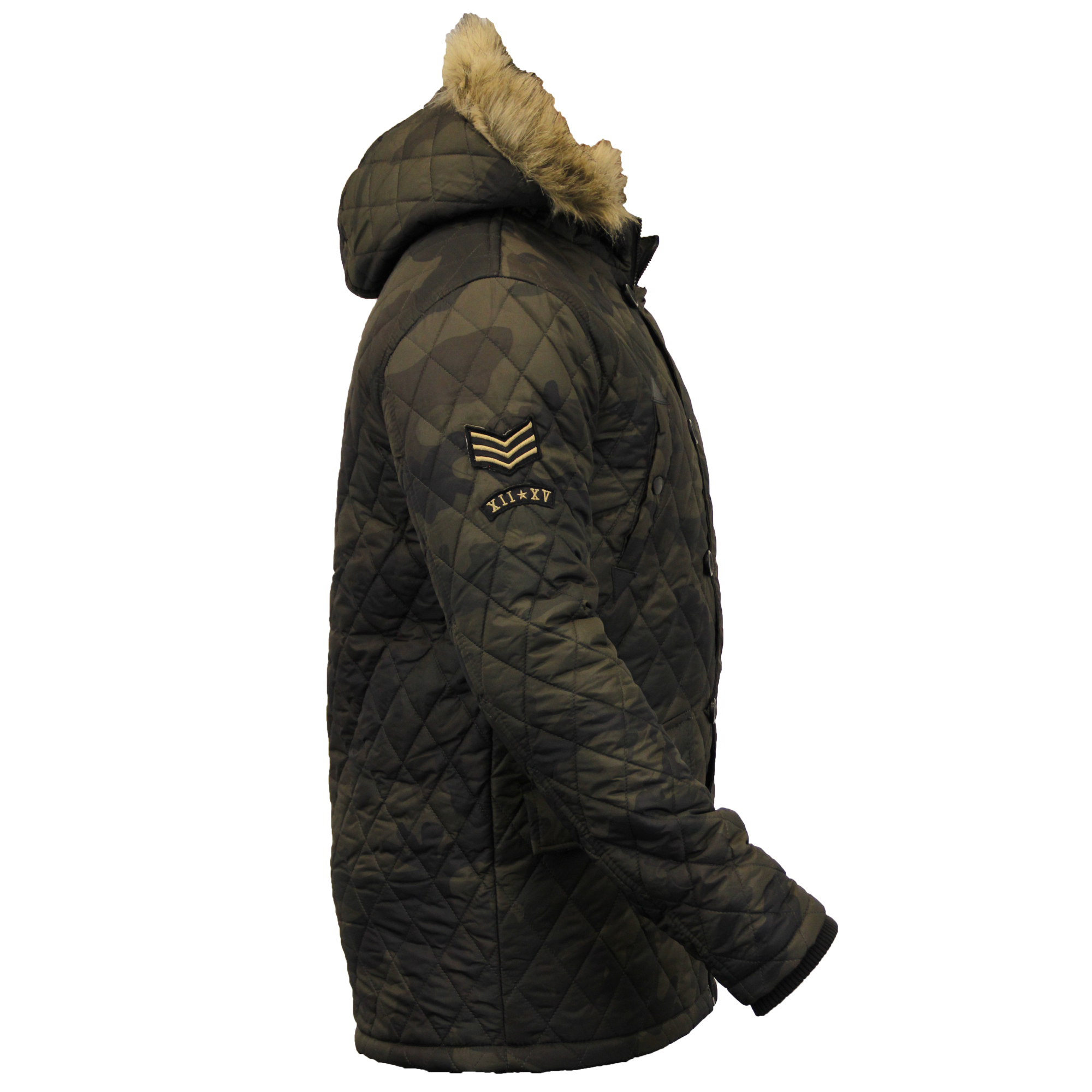 homme matelass insigne parka brave soul manteau camouflage sherpa polaire rembourr capuche. Black Bedroom Furniture Sets. Home Design Ideas