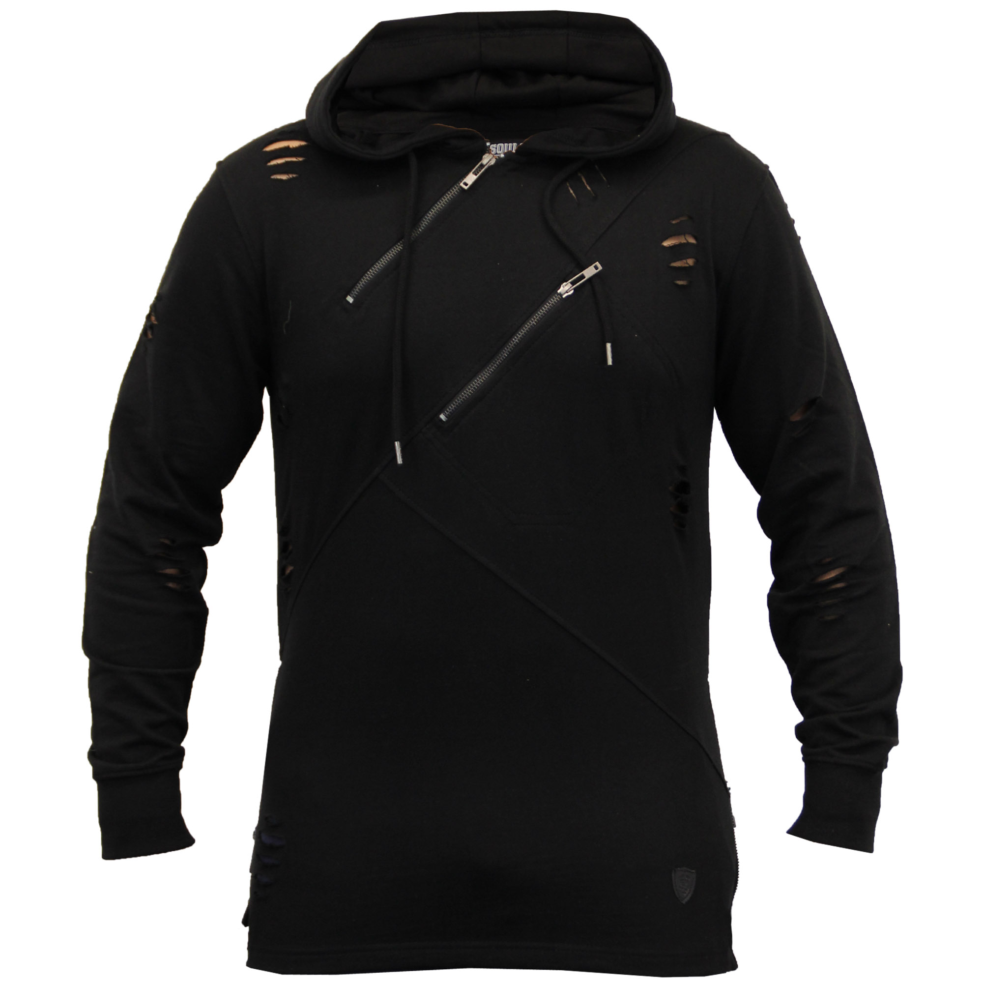 mens ripped sweatshirt top soul star long line hooded pullover t shirt winter ebay. Black Bedroom Furniture Sets. Home Design Ideas