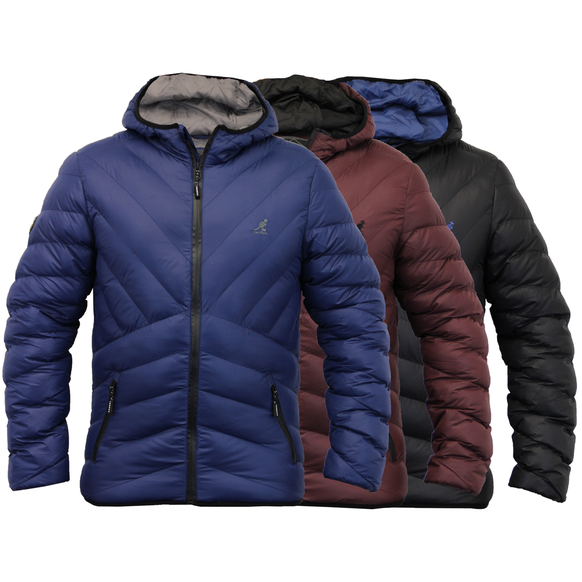 Mens Jacket Kangol Coat Padded Quilted Hooded Puffer Bubble Winter ...