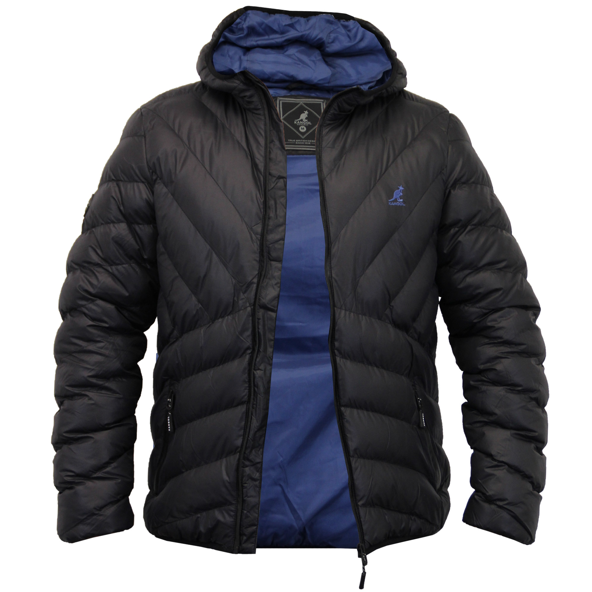 Mens Jacket Kangol Coat Padded Quilted Hooded Puffer ...