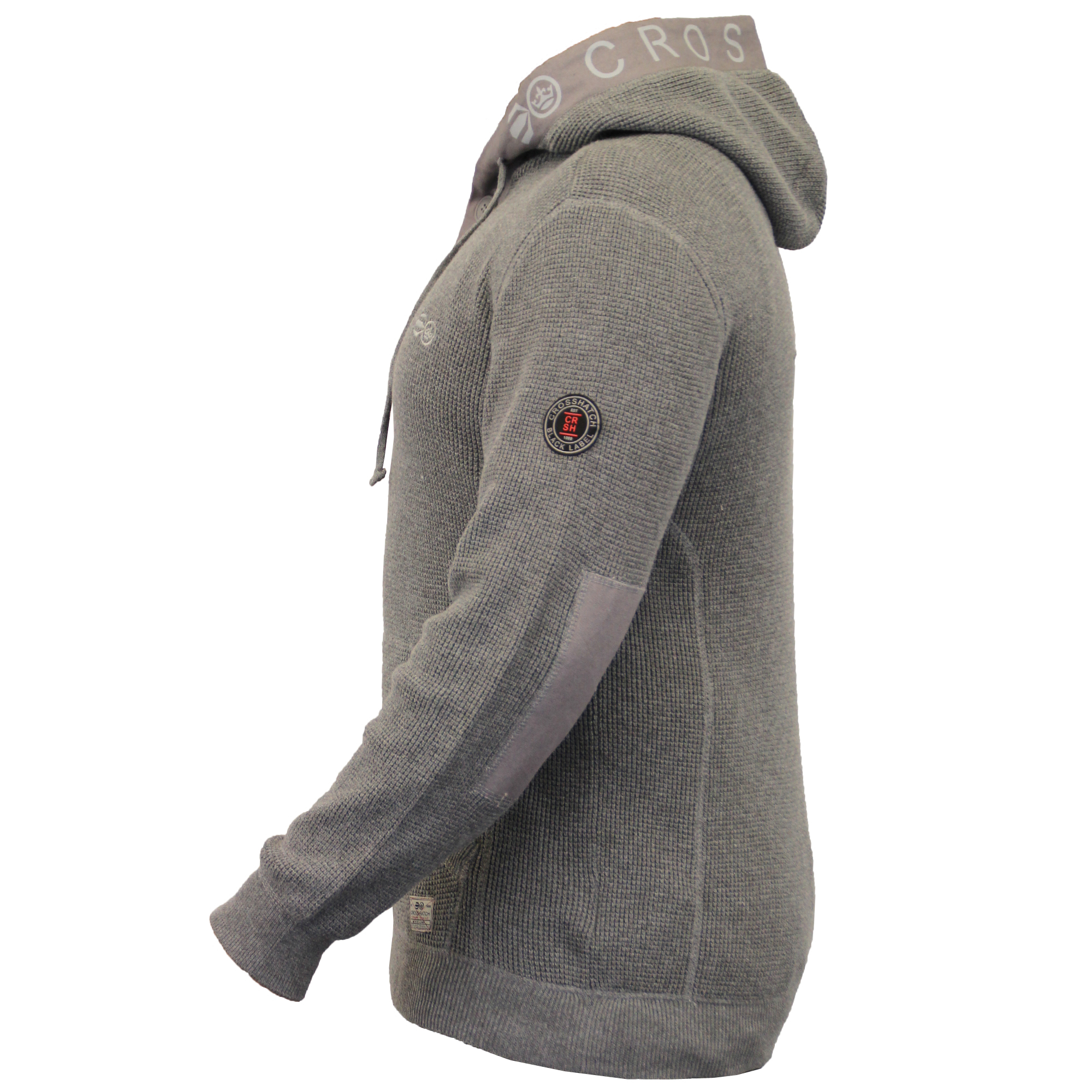 Mens Jumper Crosshatch Knitted Sweater Hooded Top Pullover ...