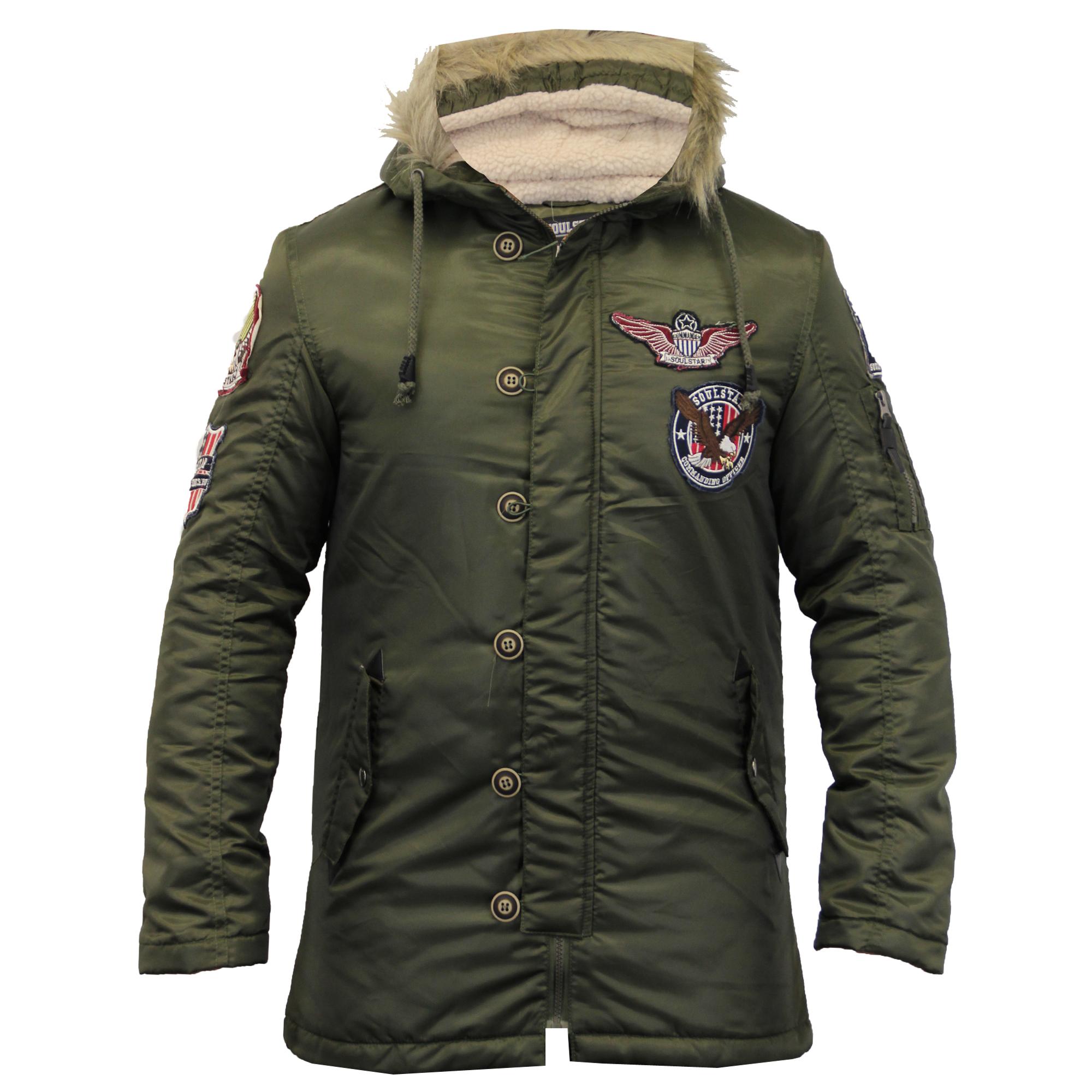 Mens Fish Tail Parka Jacket Soul Star Sherpa Hooded Fur Badge ...
