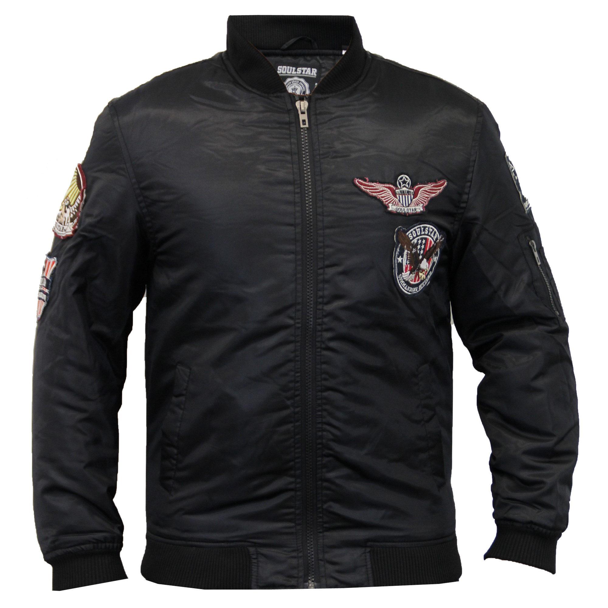 Mens Jacket Soul Star Coat MA1 Harrington Padded Badge