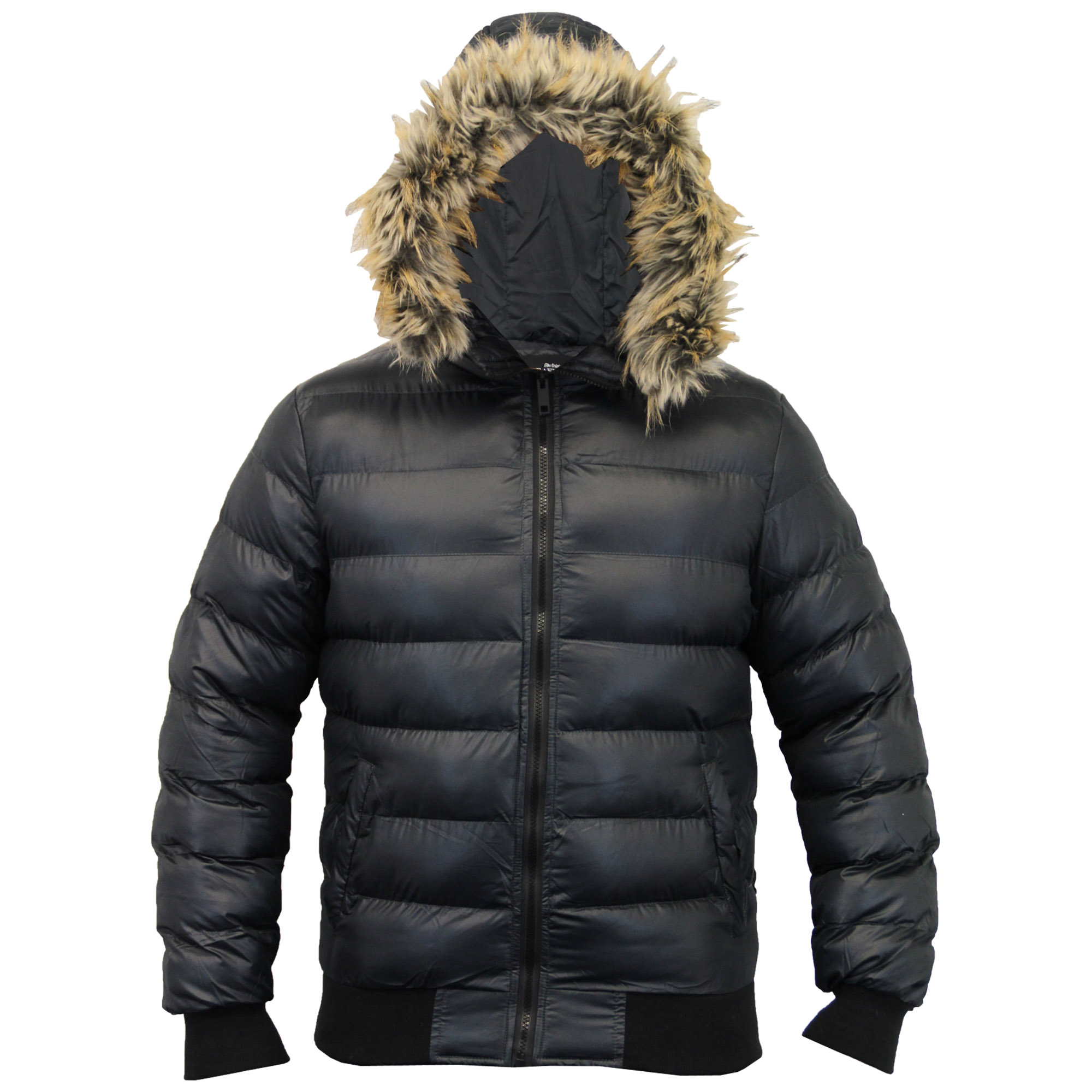 Mens Short Parka Jacket Brave Soul Coat Hooded Fur Padded Bomber ...