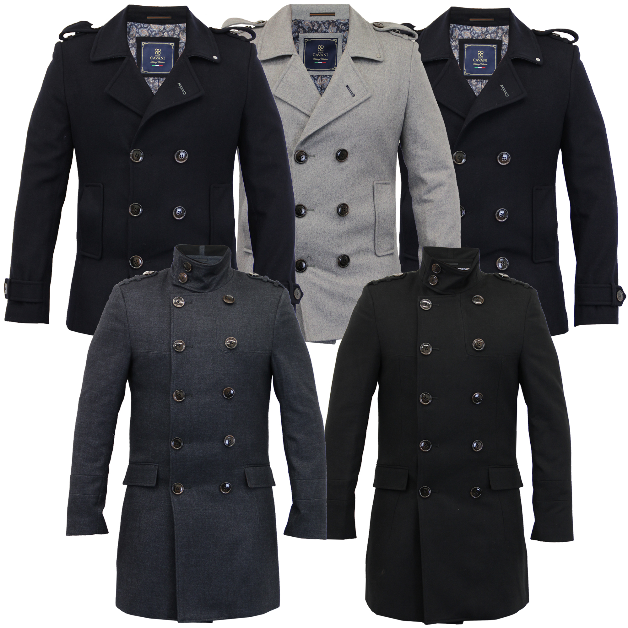 Mens Wool Mix Jacket Cavani Double Breasted Coat Slim Fit Military ...