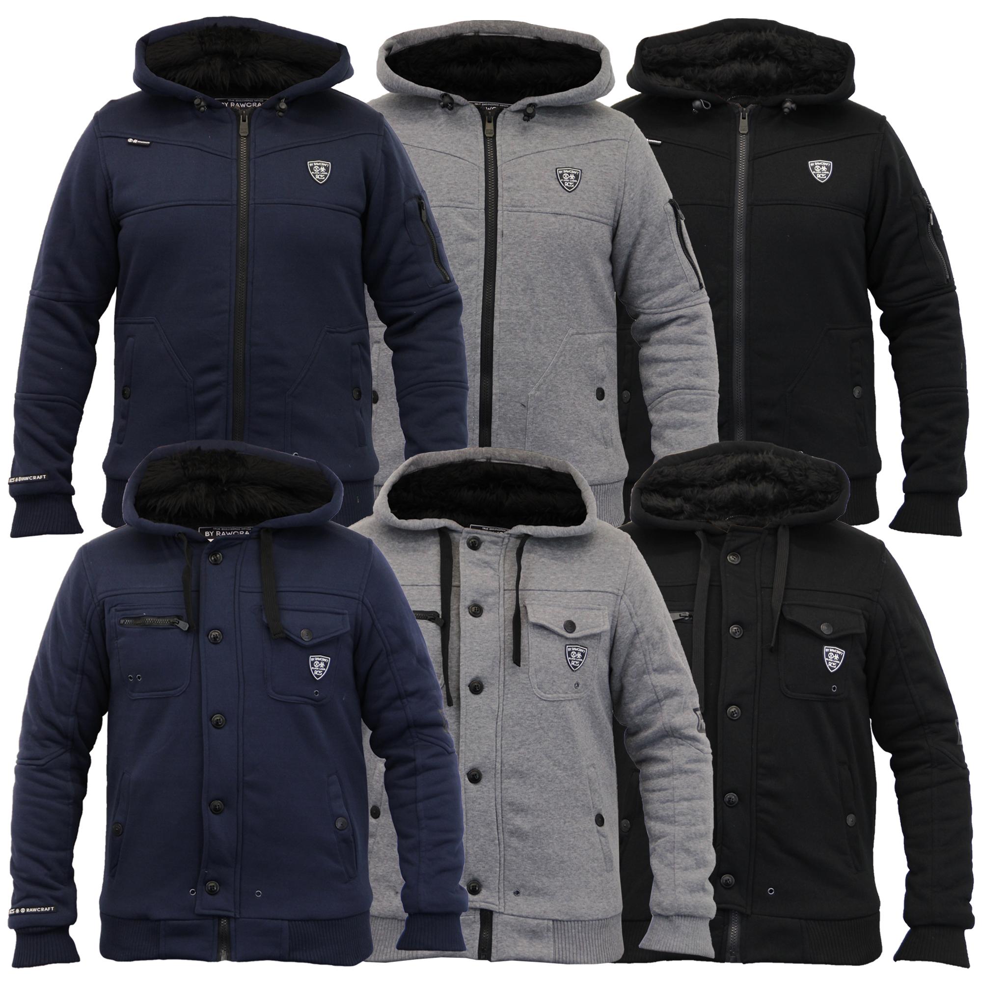 Mens Jacket Rawcraft Sweat Coat Hooded Top Zip Fur Lined Heavy ...